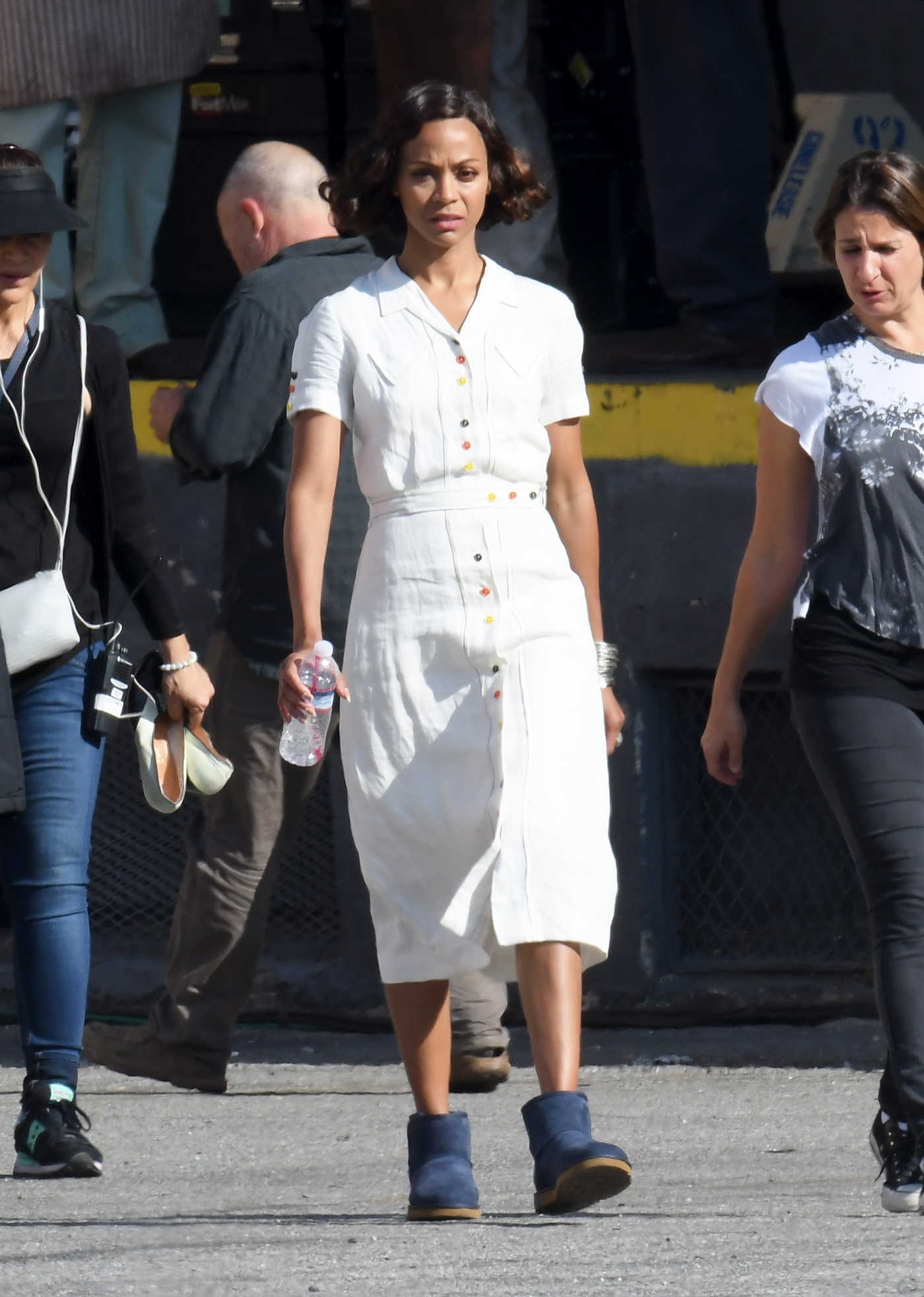 Zoe Saldana on the Set of Live By Night in Los Angeles 06/25/2016