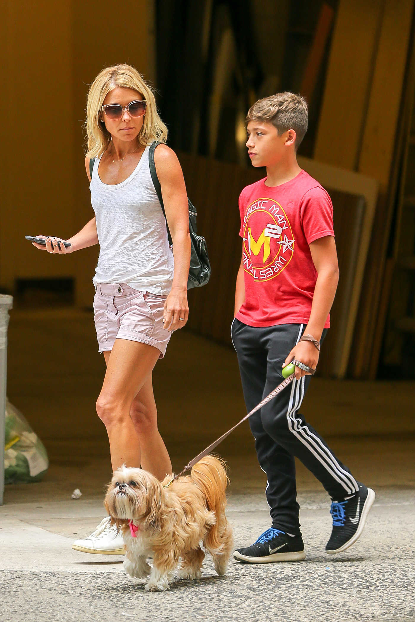Kelly Ripa Was Seen With Her Dog in Central Park in  New York City 07/25/2016