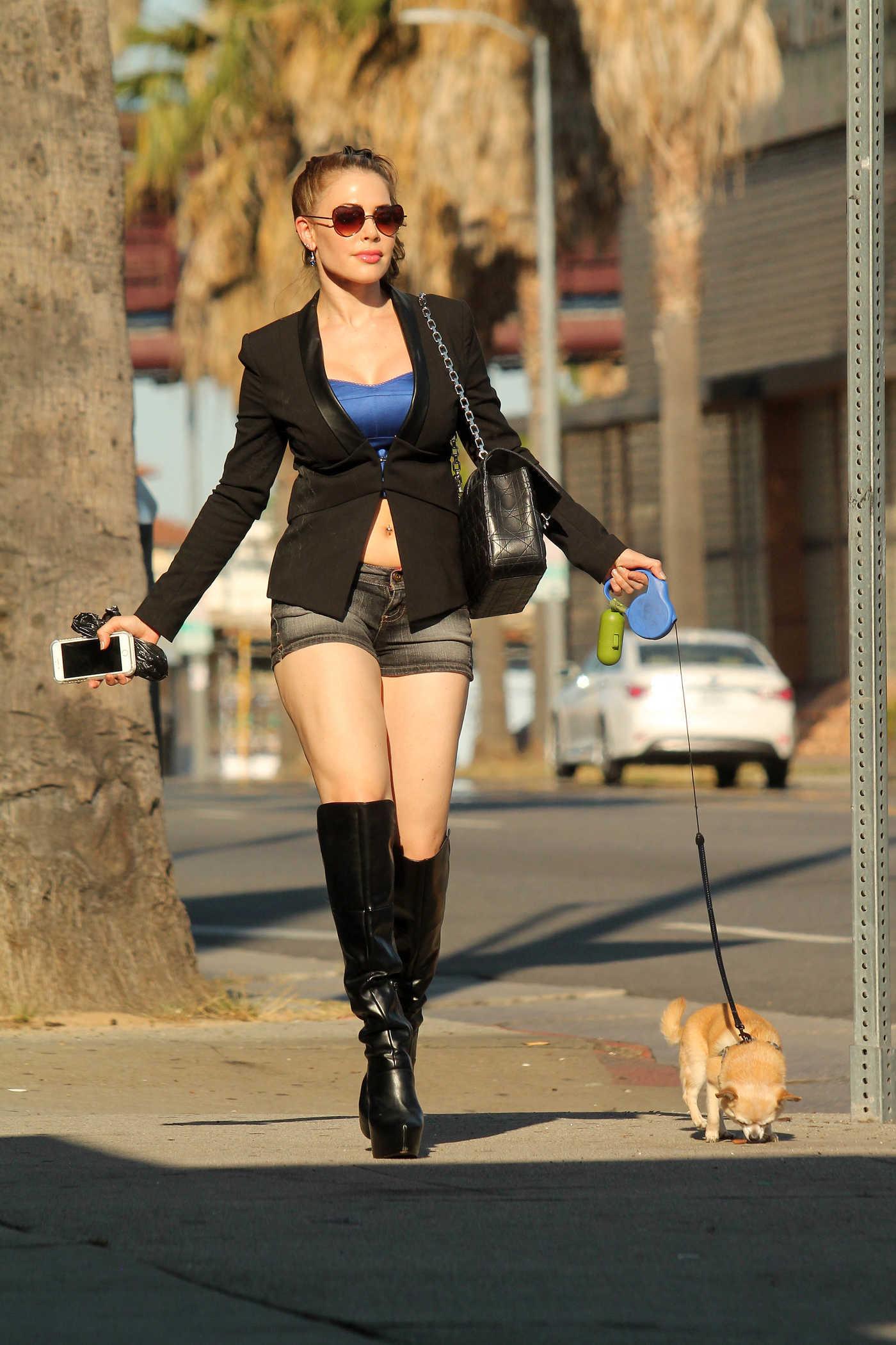 Erika Jordan Walks Her Dog on Sunset Boulevard in LA 08/14/2016