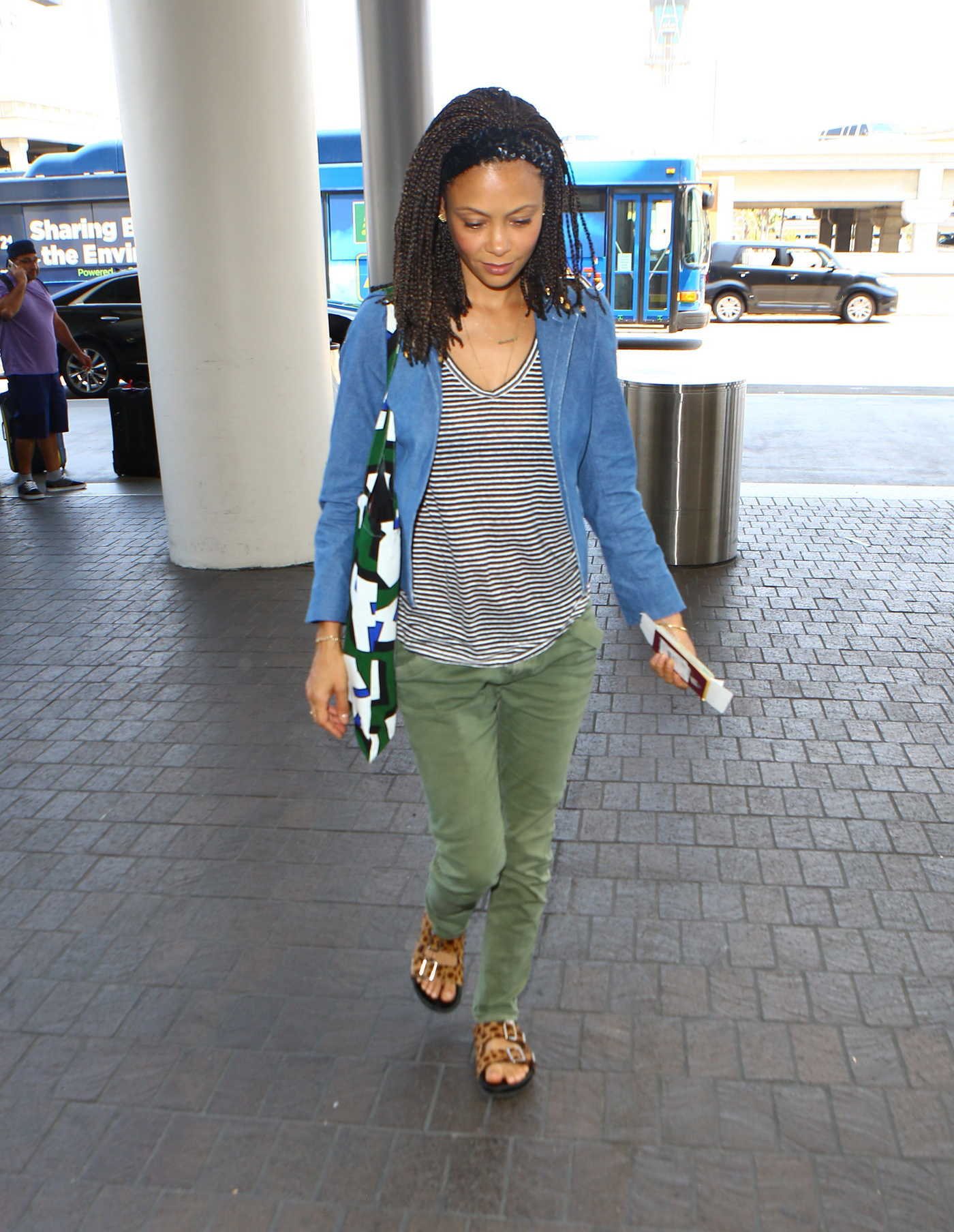 Thandie Newton Was Seen at LAX Airport in LA 07/31/2016