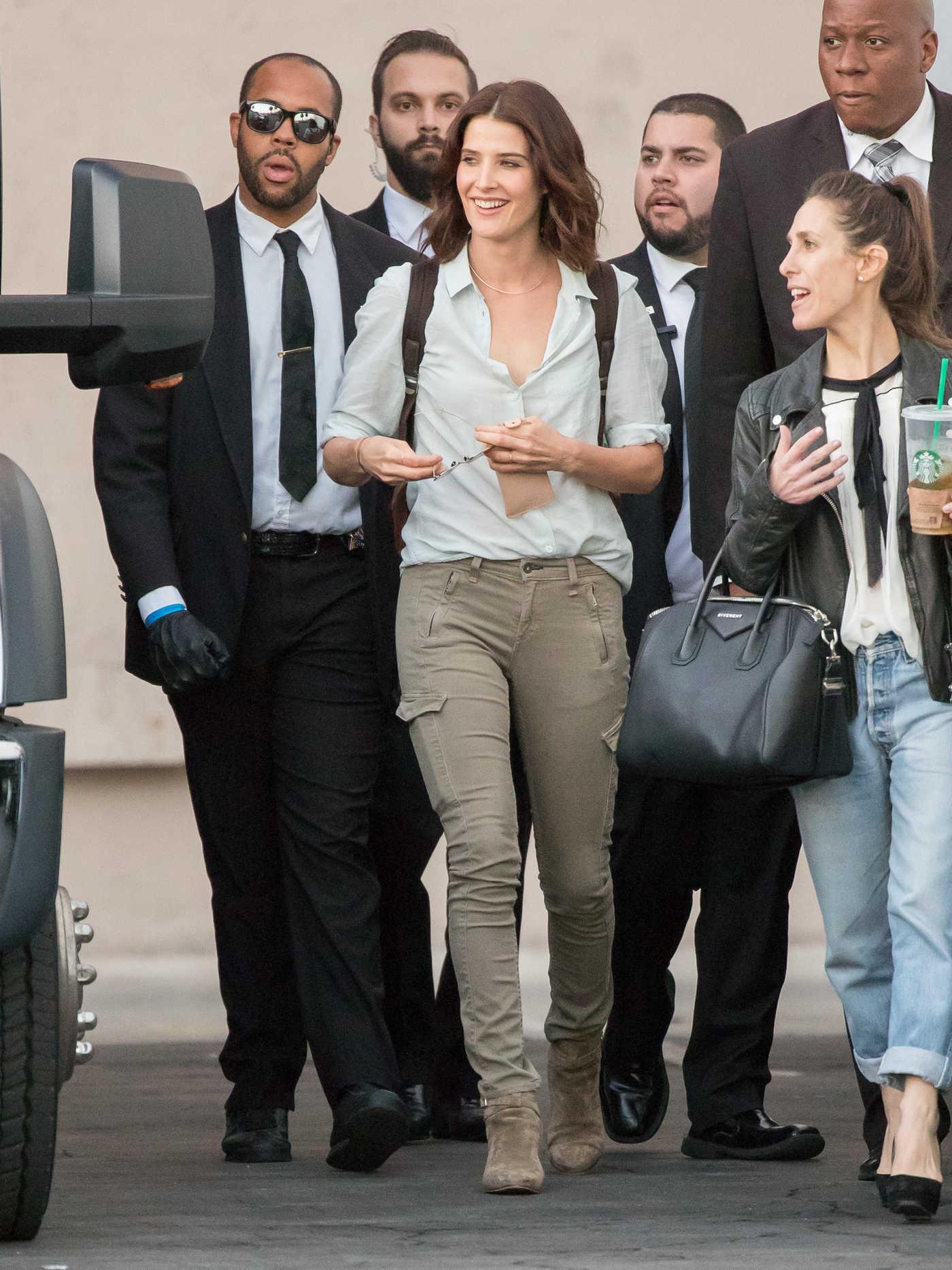 Cobie Smulders Arrives at Jimmy Kimmel Live in Los Angeles 10/17/2016