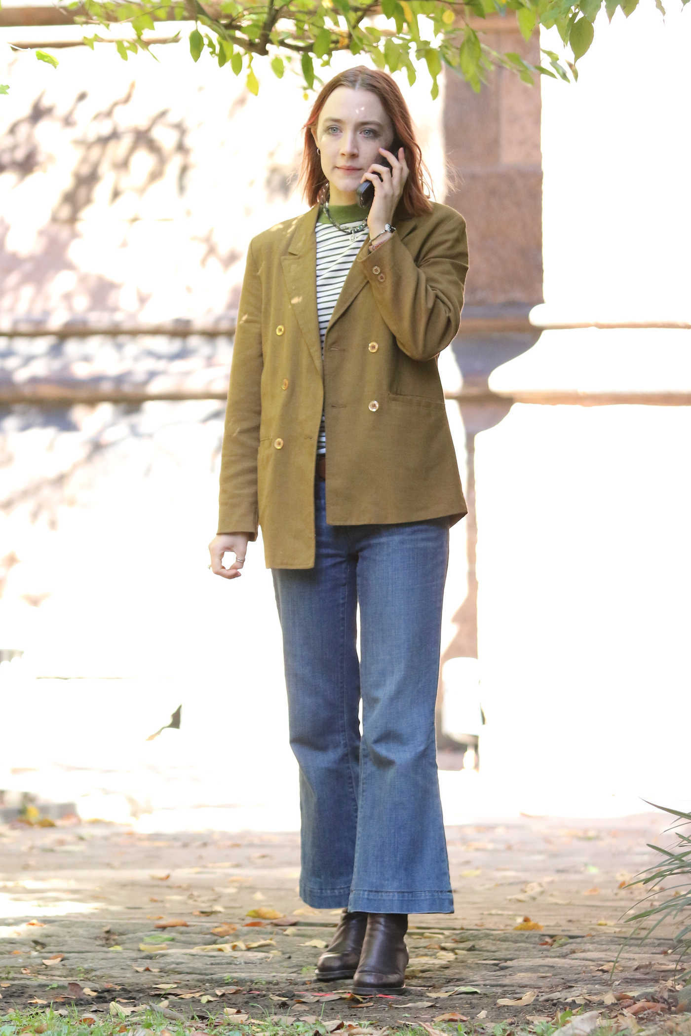 Saoirse Ronan on the Set of Lady Bird in the East Village, New York 10/14/2016