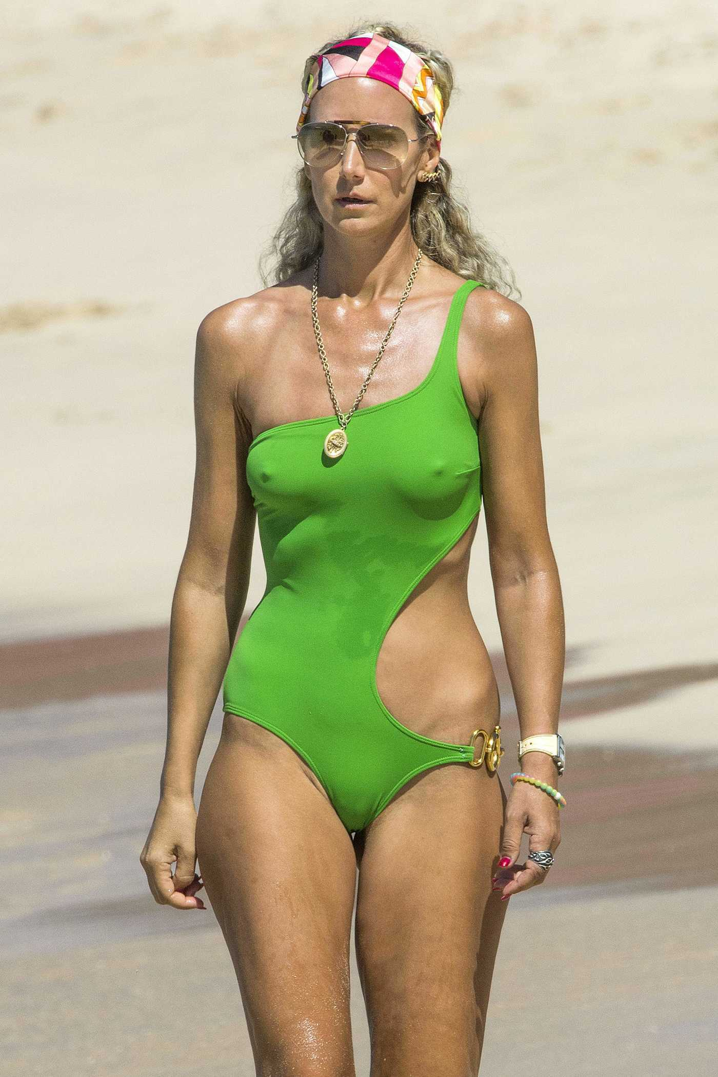 Lady Victoria Hervey in a Green Swimsuit at the Beach in Barbados 12/30/2016