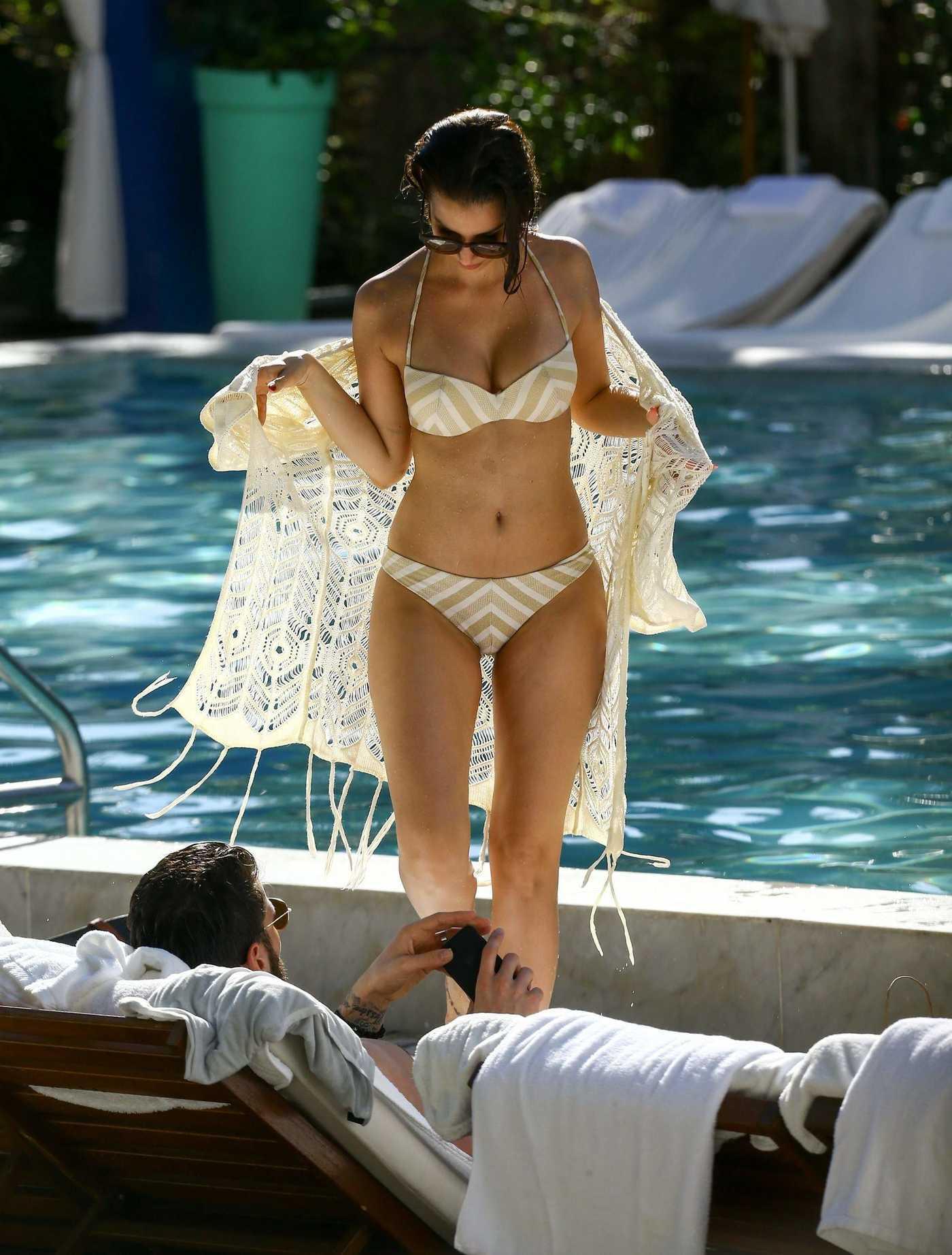 Sila Sahin in Bikini by a Poolside in Miami 12/30/2016