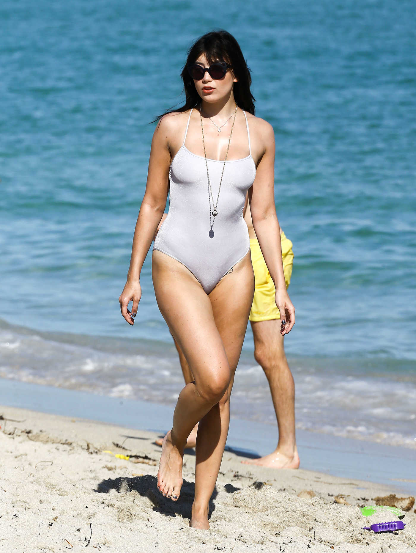 Daisy Lowe Wearing One Piece at the Beach in Miami 01/05/2017