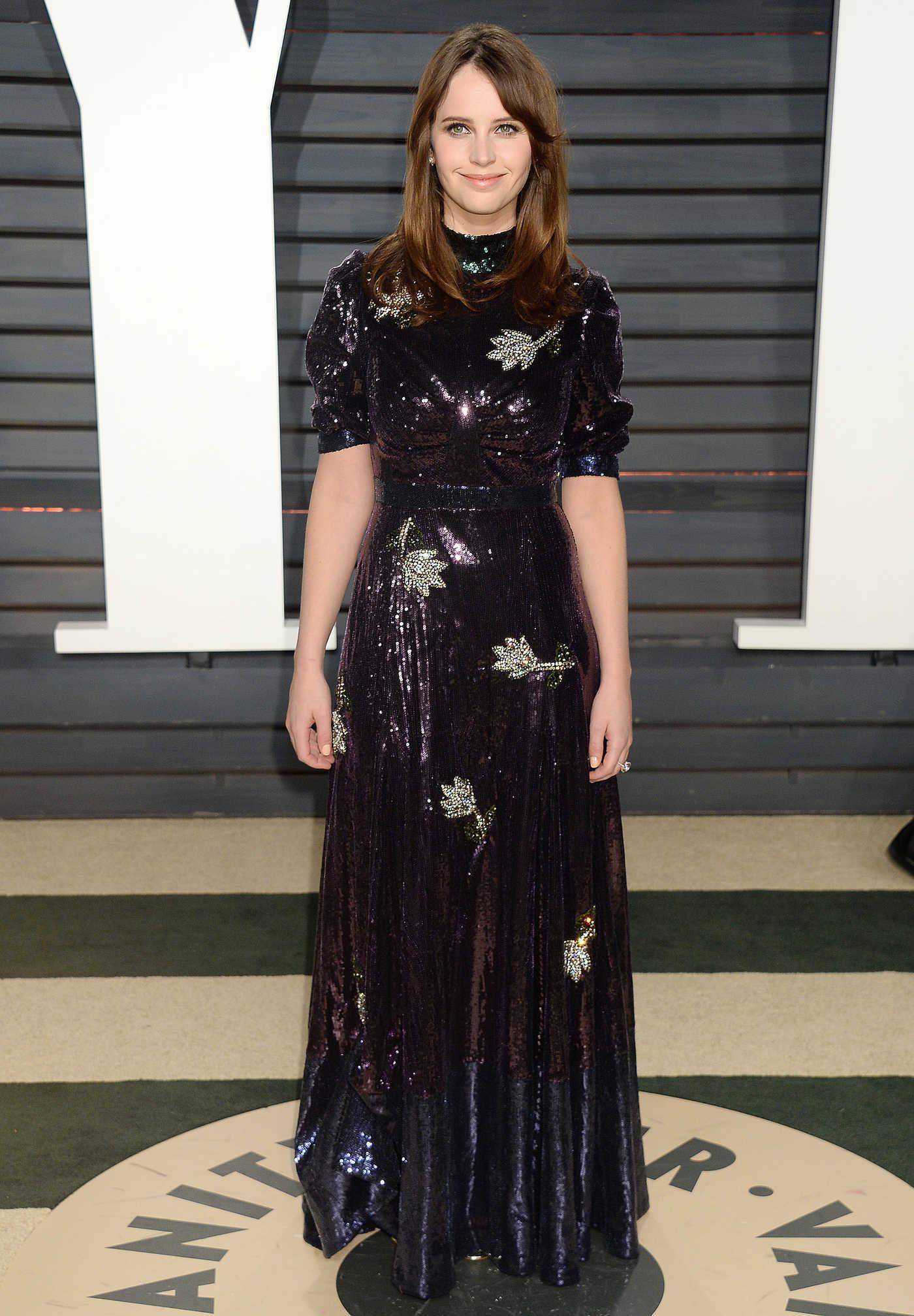 Felicity Jones at the 2017 Vanity Fair Oscar Party in Beverly Hills 02/26/2017