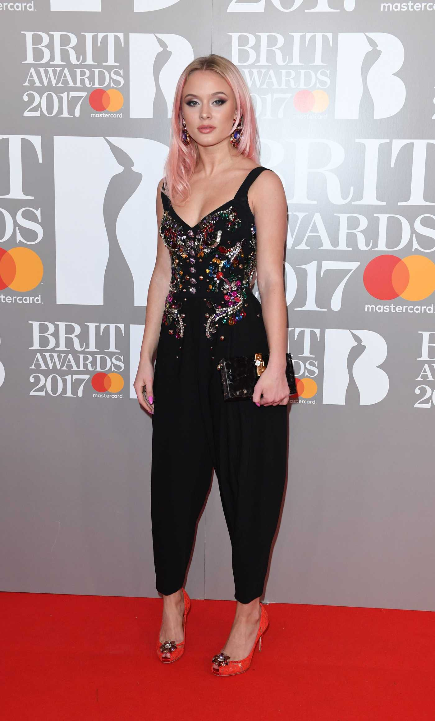 Zara Larsson at the Brit Awards at O2 Arena in London 02/22/2017