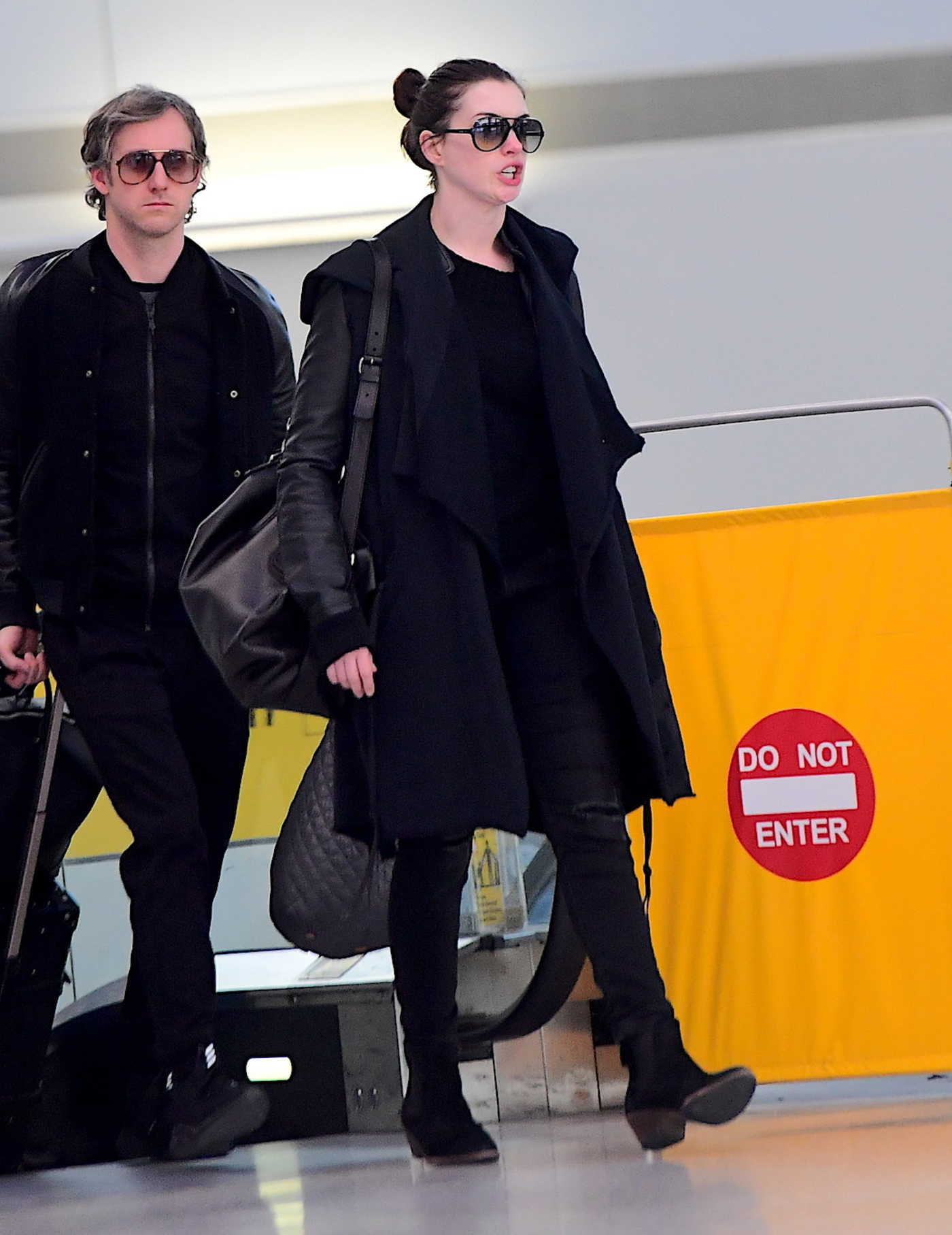 Anne Hathaway at the JFK Airport in New York 03/07/2017