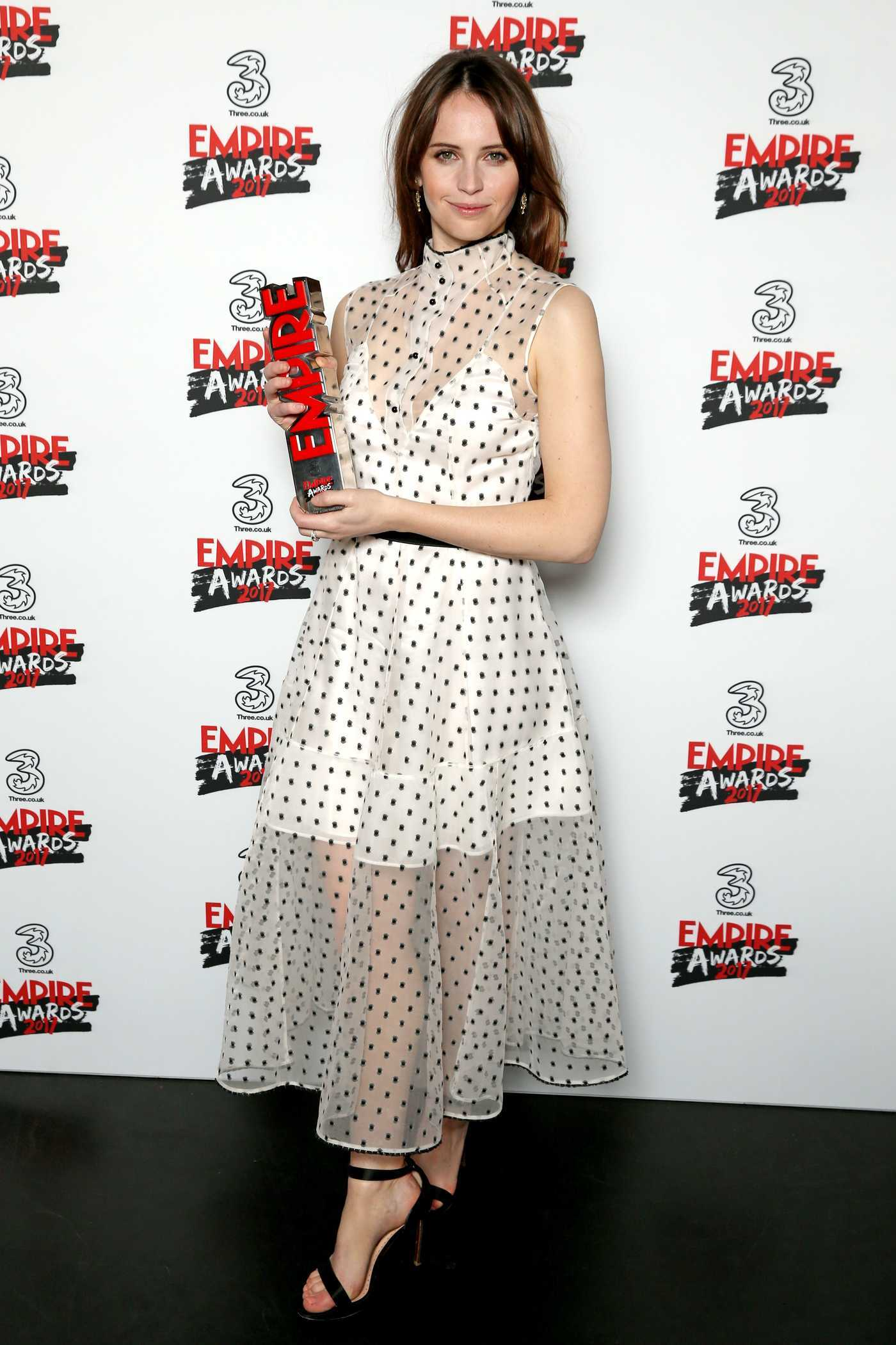 Felicity Jones at the Three Empire Awards at Roundhouse in London 03/19/2017