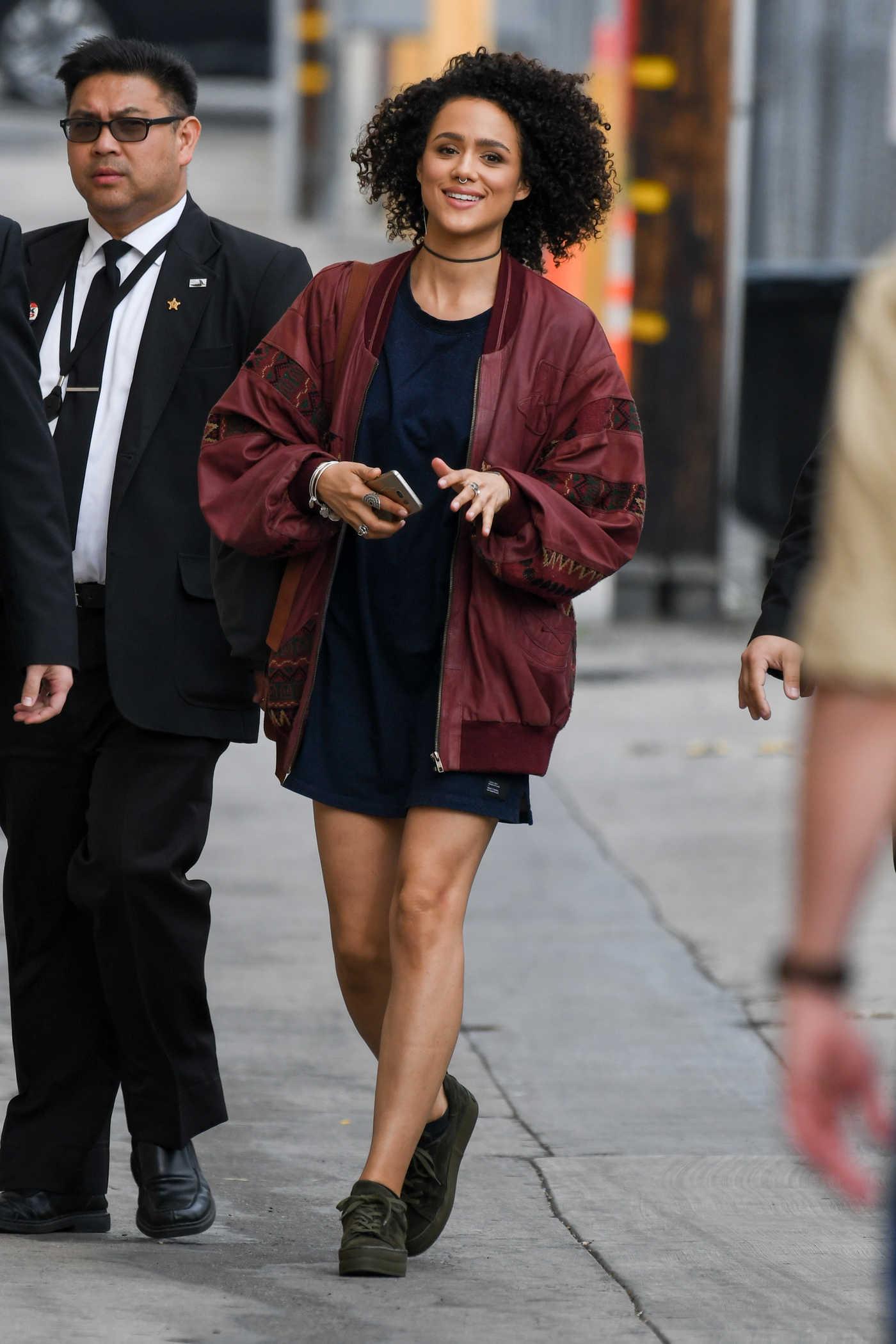 Nathalie Emmanuel Arrives at Jimmy Kimmel Live in Los Angeles 04/06/2017