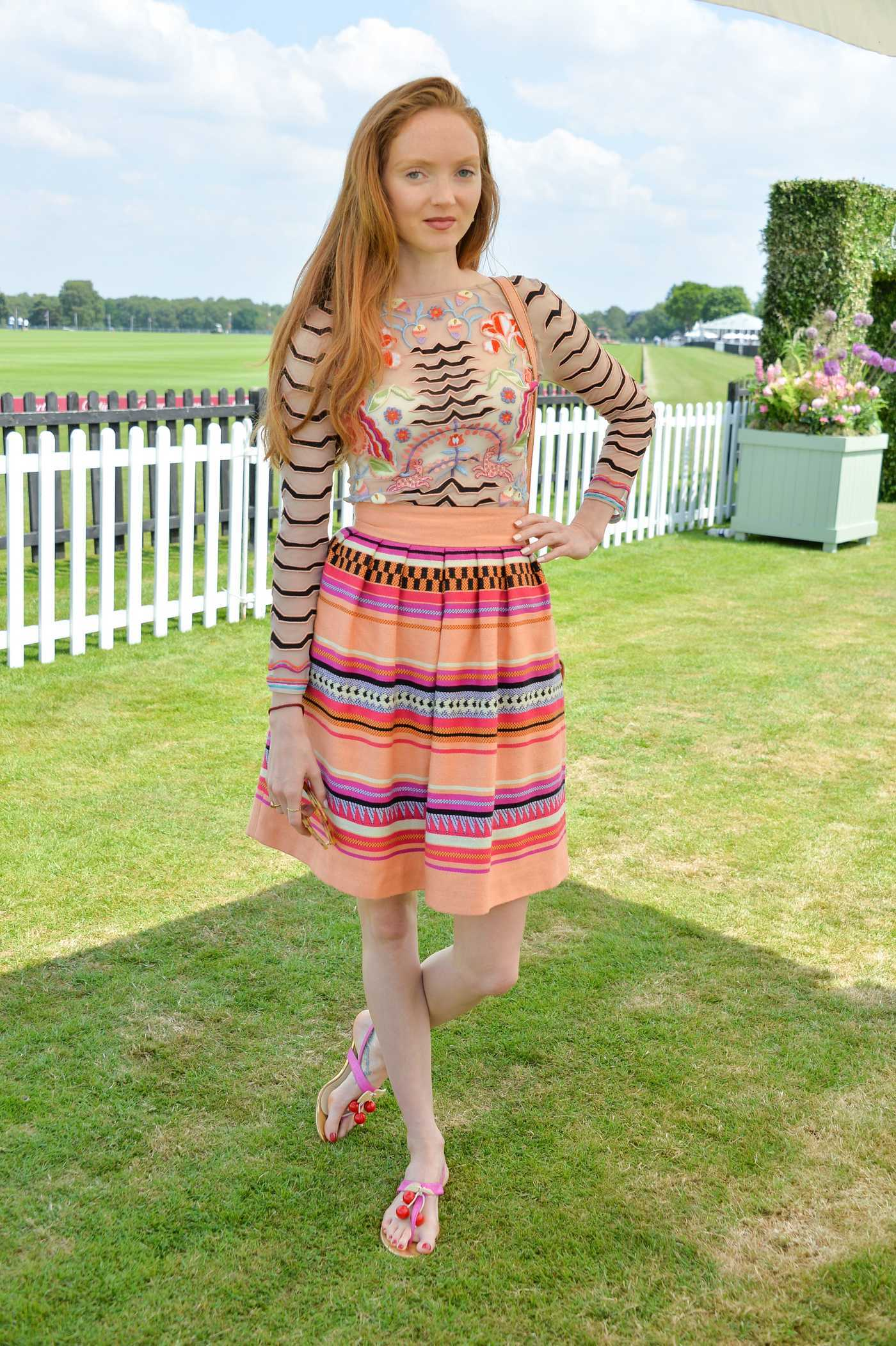 Lily Cole at the Cartier Queen's Cup Polo Final in Surrey 06/18/2017