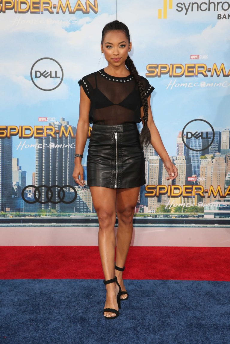 Logan Browning at the Spider-Man: Homecoming Premiere in Hollywood 06/28/2017-1