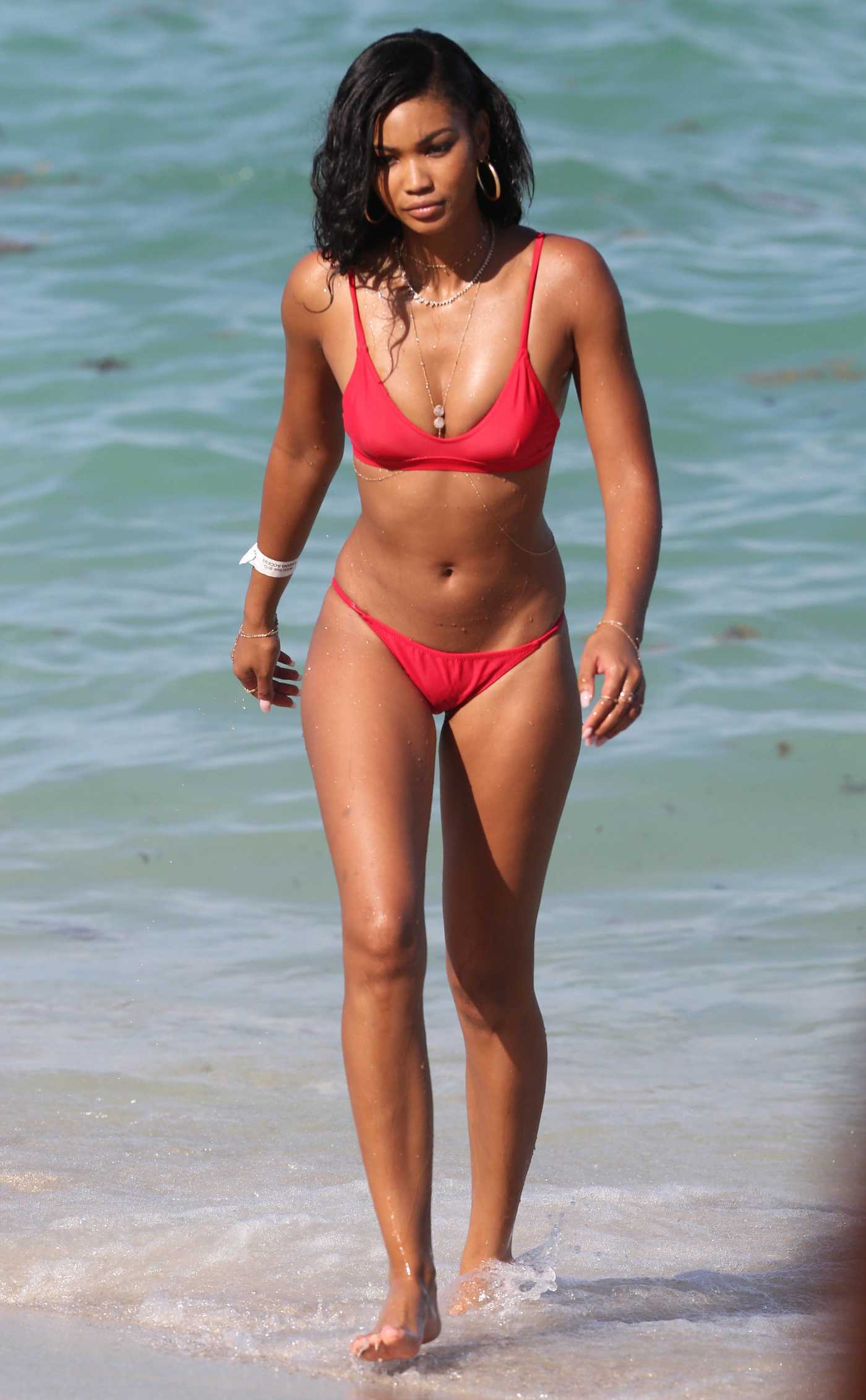 Chanel Iman Wears a Red Bikini at the Beach in Miami 07/01/2017