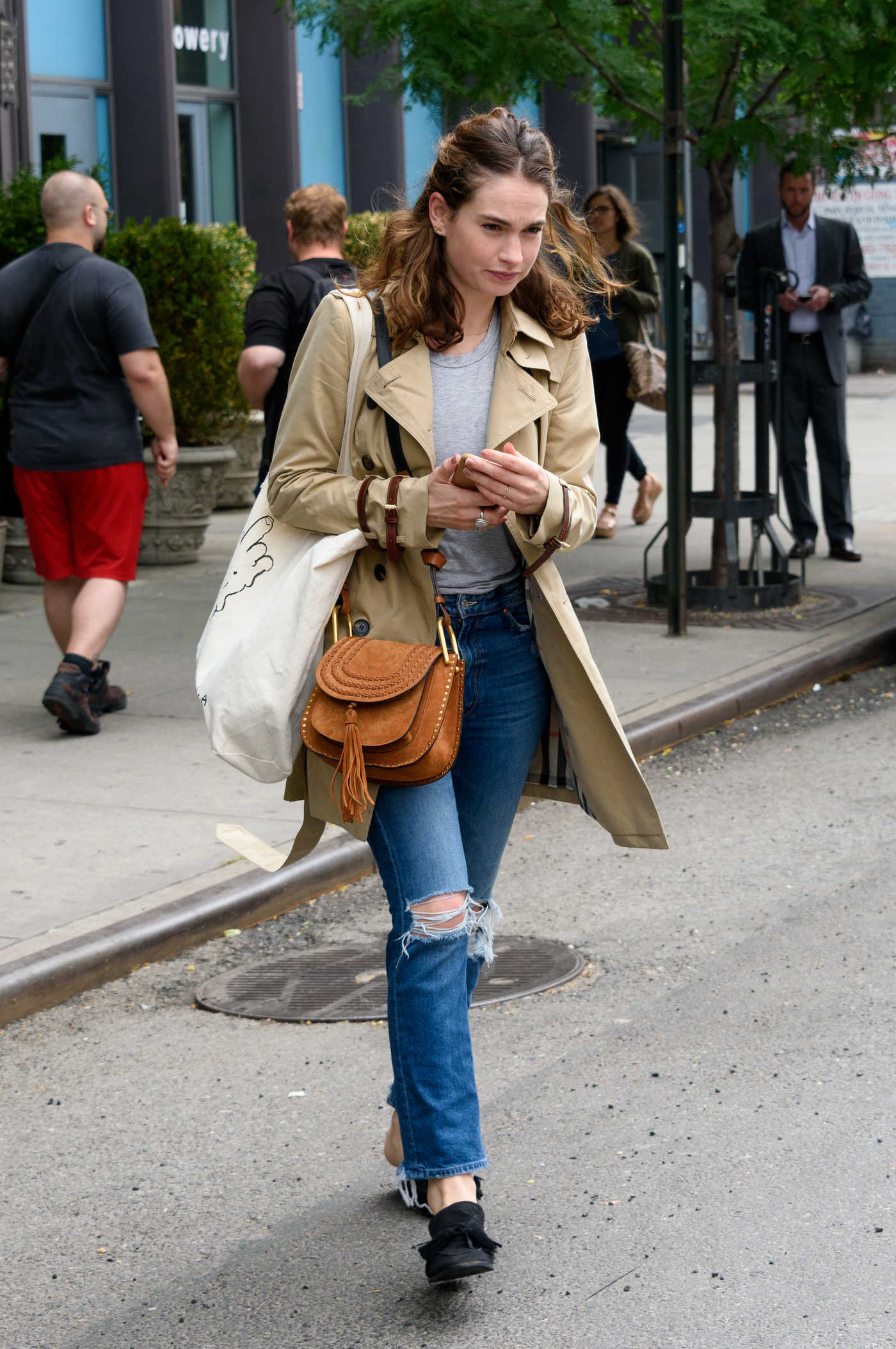Lily James Was Seen Out in New York City 07/25/2017