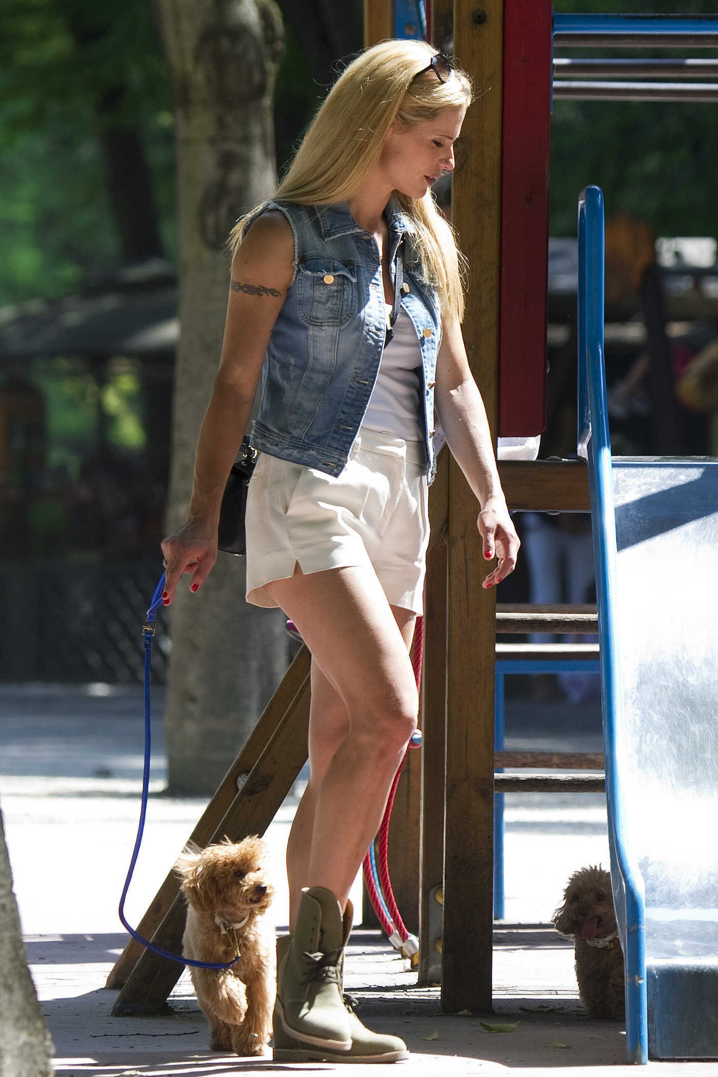 Michelle Hunziker Walks Her Dog at the Park in Milan 07/20/2017