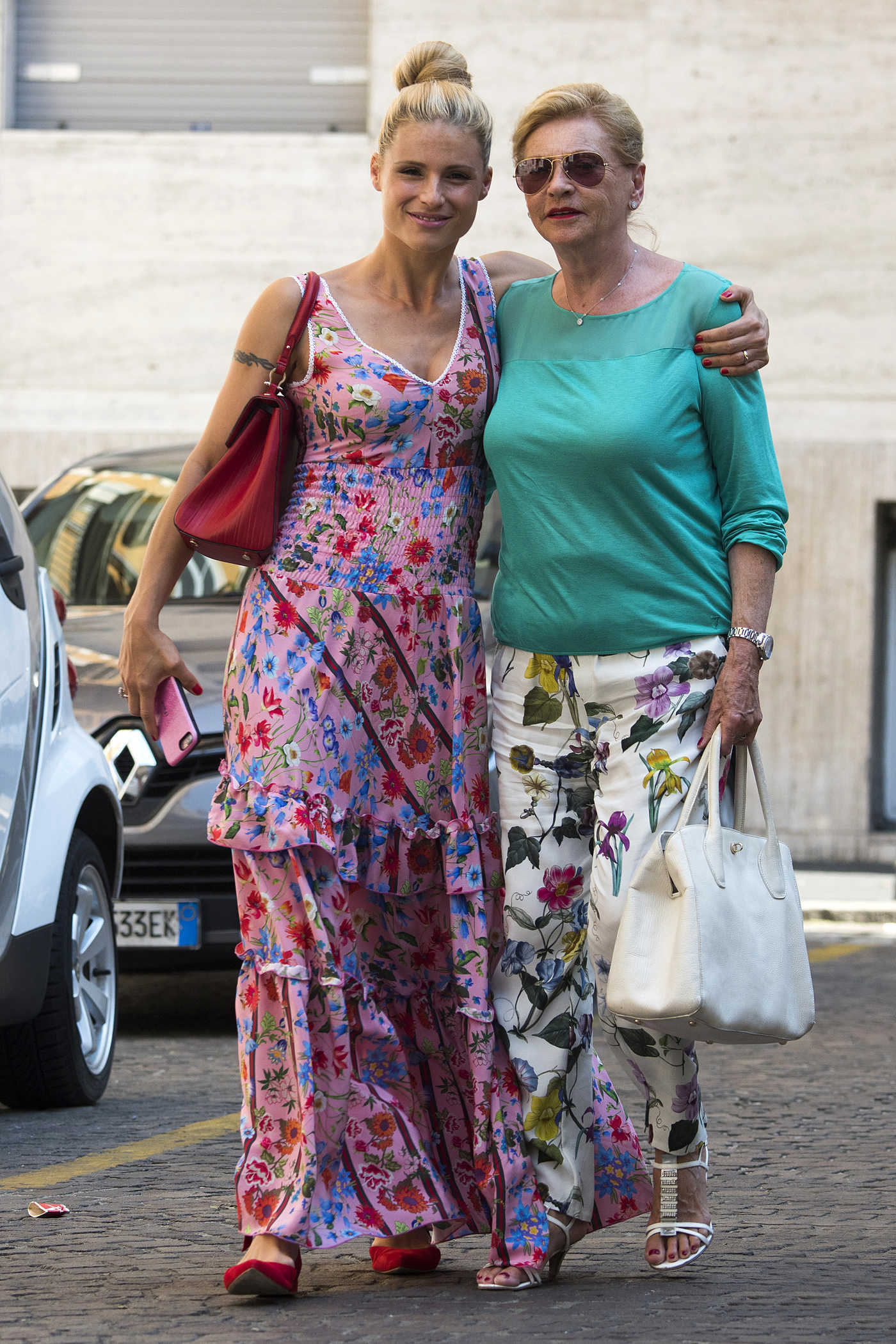 Michelle Hunziker Was Seen With Her Mother in Milan 07/14/2017