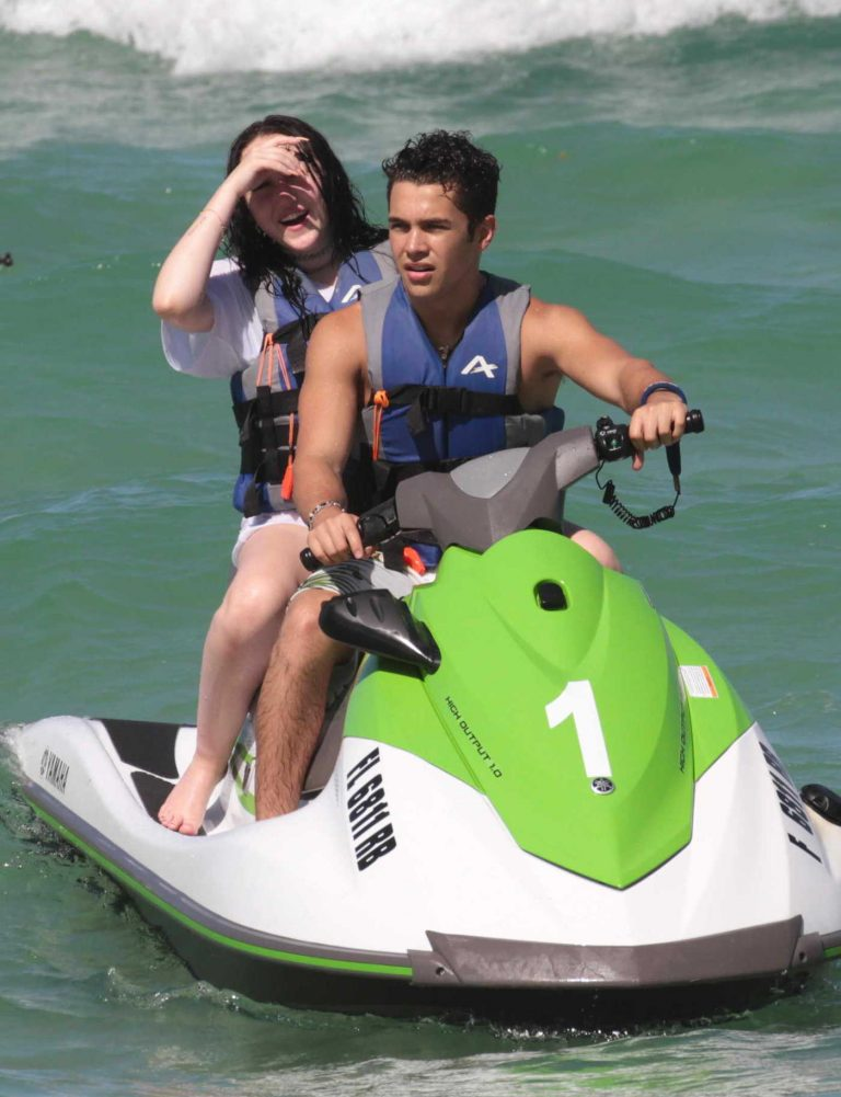 Noah Cyrus Riding the Waves on a Jet Ski With Austin Mahone in Miami 07/15/2017-1