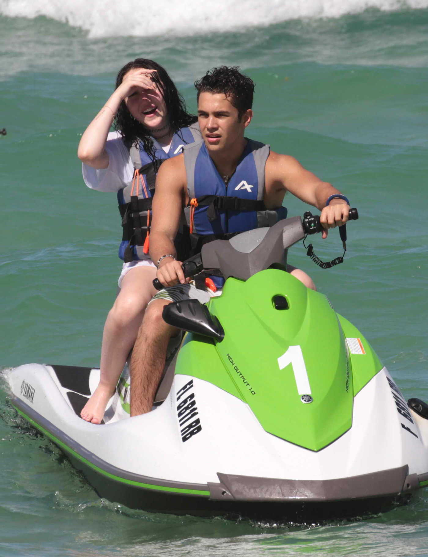 Noah Cyrus Riding the Waves on a Jet Ski With Austin Mahone in Miami 07/15/2017