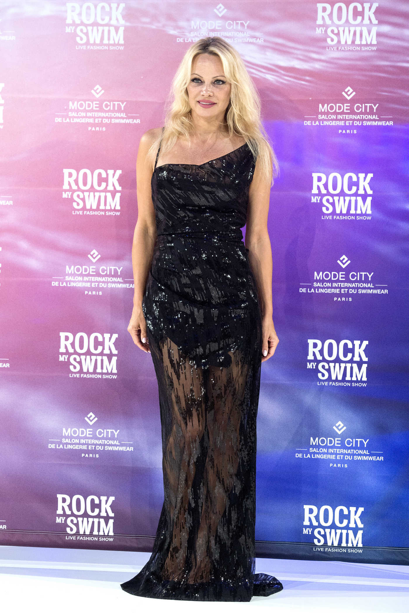 Pamela Anderson at the Rock My Swim Show by Mode City au Parc des Expositions in Paris 07/08/2017