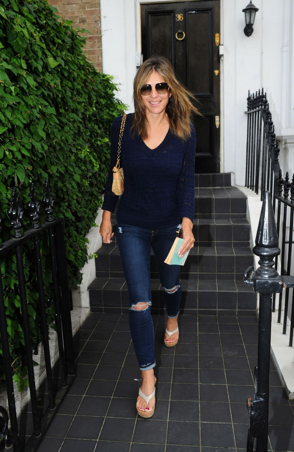 Elizabeth Hurley Leaves Her House in London 08/25/2017