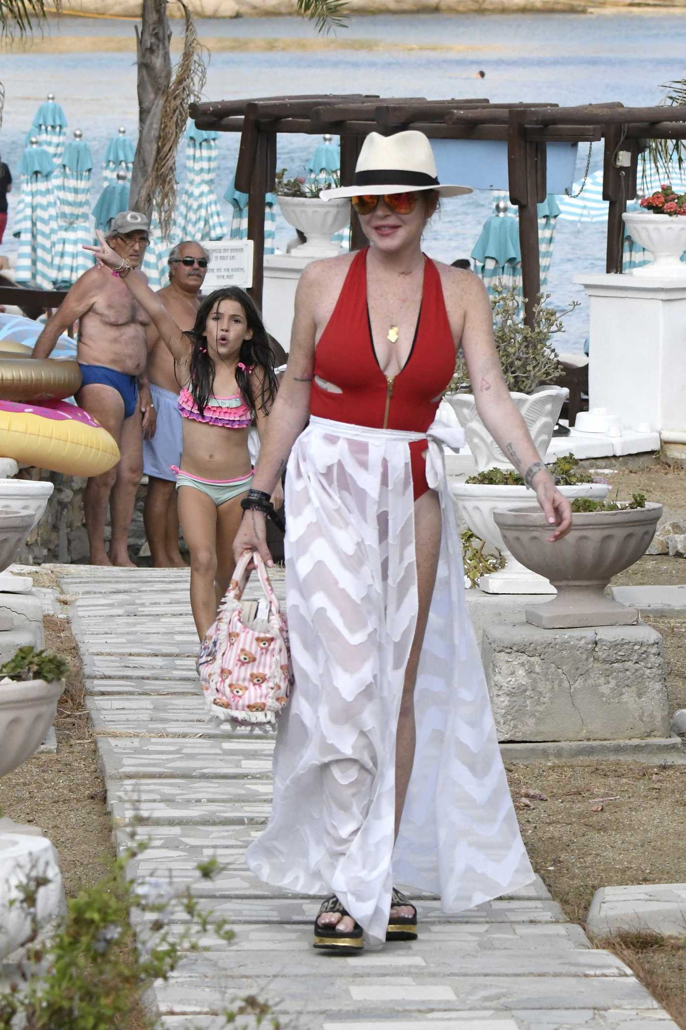 Lindsay Lohan Was Spotted at the Nammos Beach in Mykonos 08/21/2017
