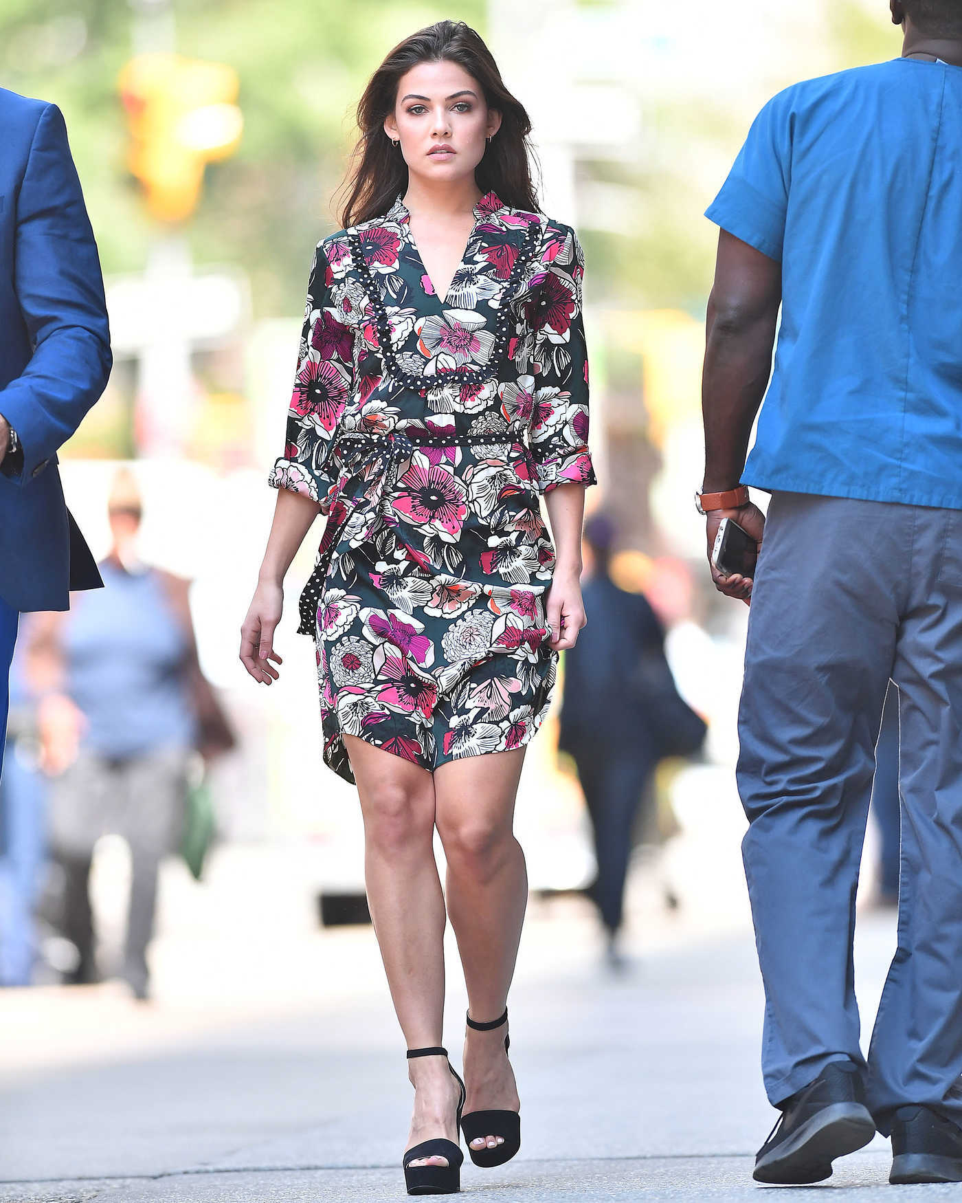 Danielle Campbell Wears a Floral Dress in NYC 09/06/2017