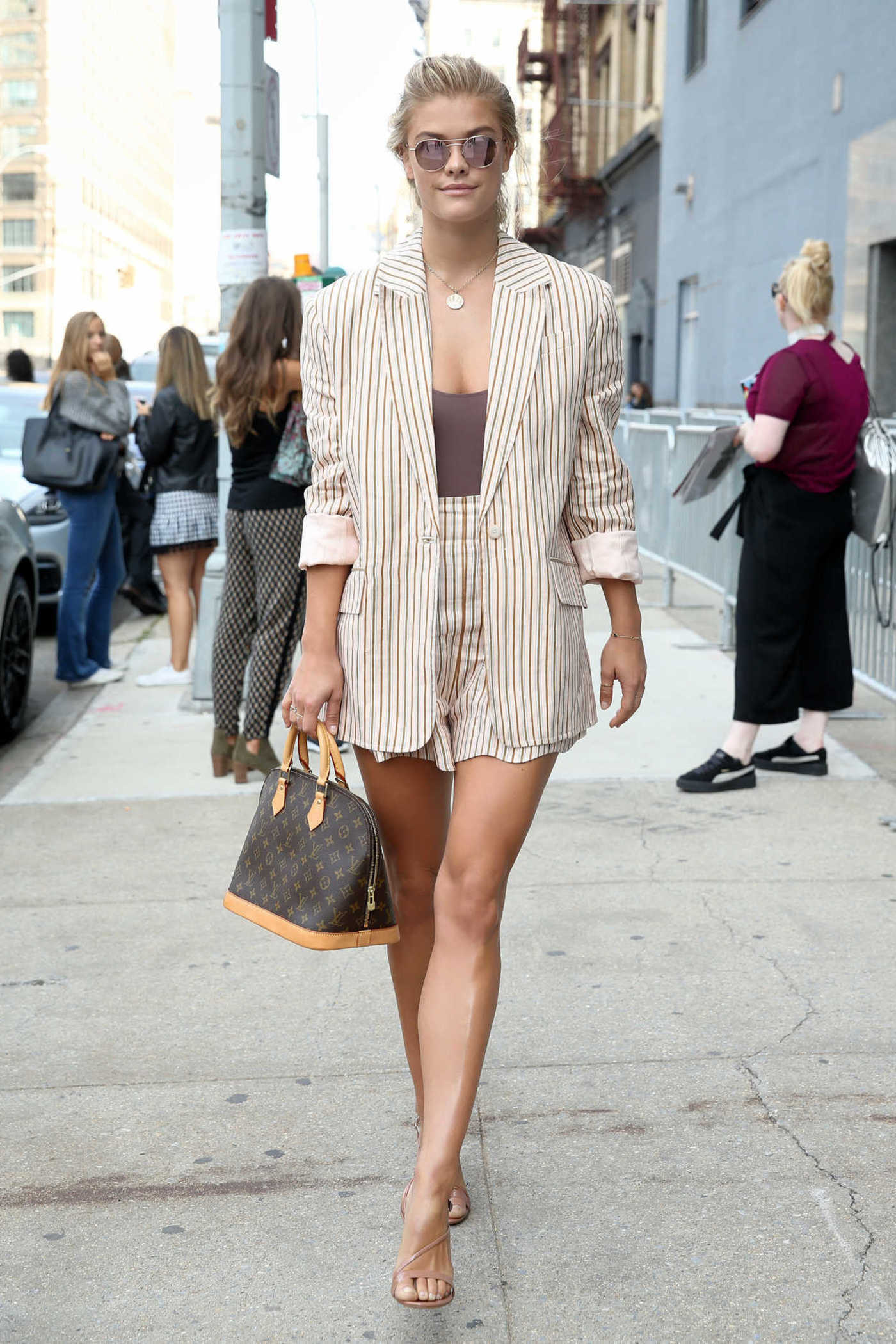 Nina Agdal Arrives at Spring Studios During New York Fashion Week 09/11/2017