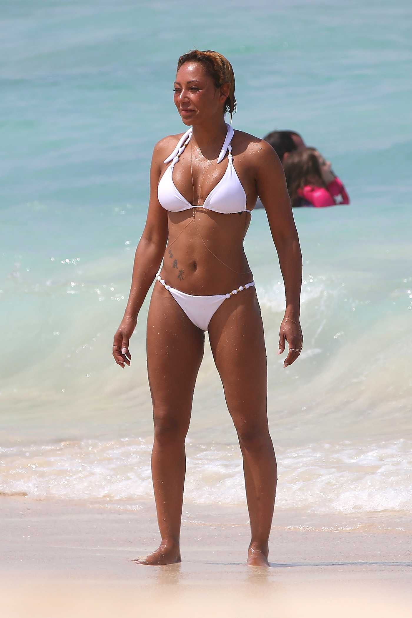 Melanie Brown Wears a White Bikini at the Beach in LA 10/07/2017