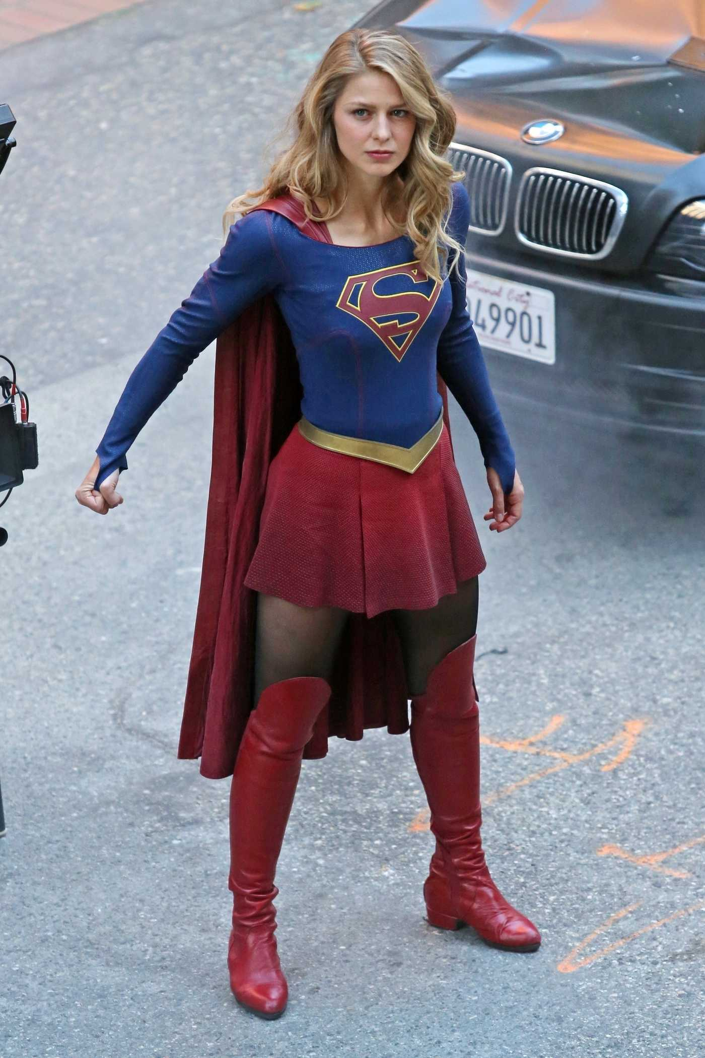 Melissa Benoist on the Set of Supergirl in Vancouver 09/29/2017