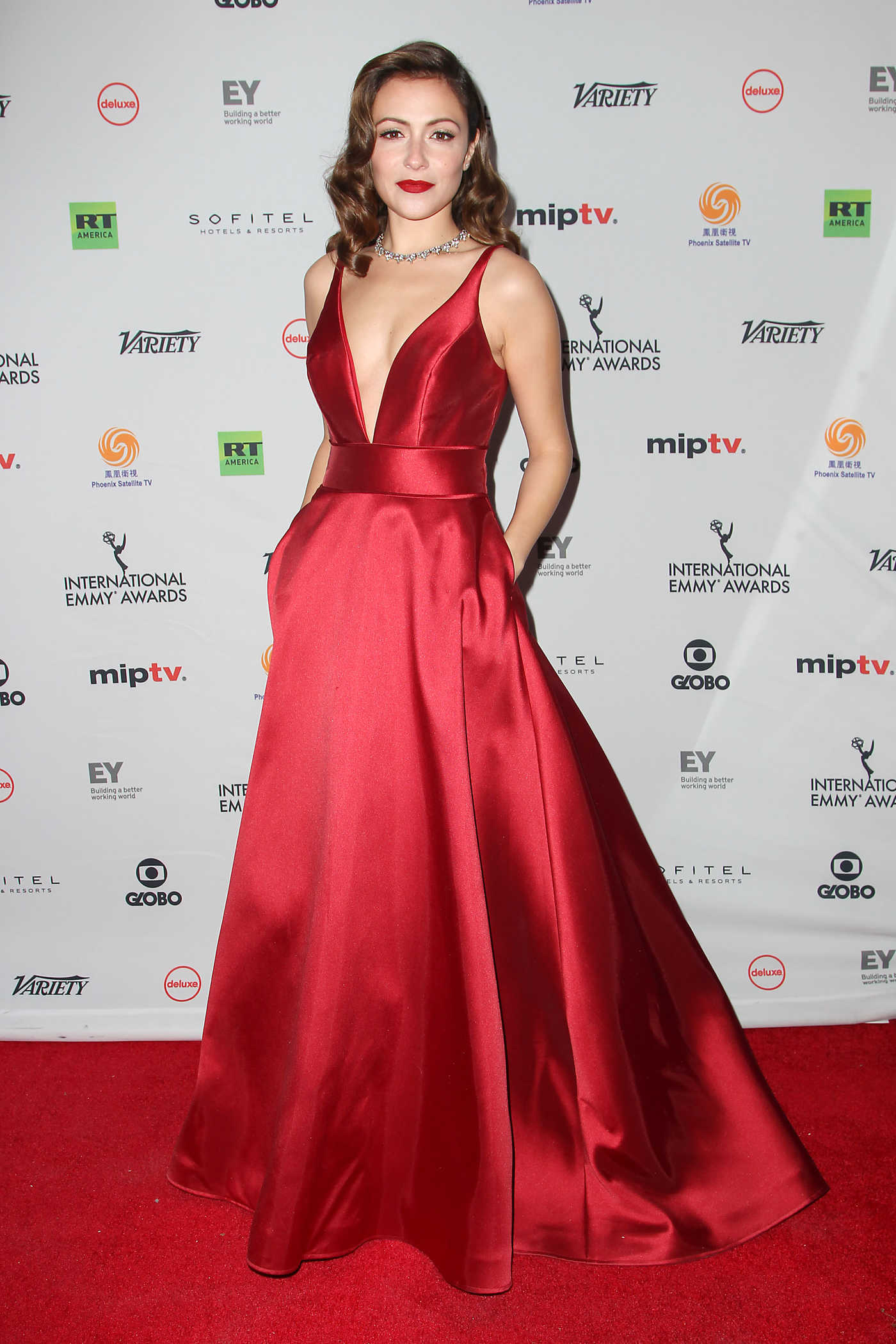 Italia Ricci at the 45th International Emmy Awards Gala at the New York Hilton Hotel in New York City 11/20/2017