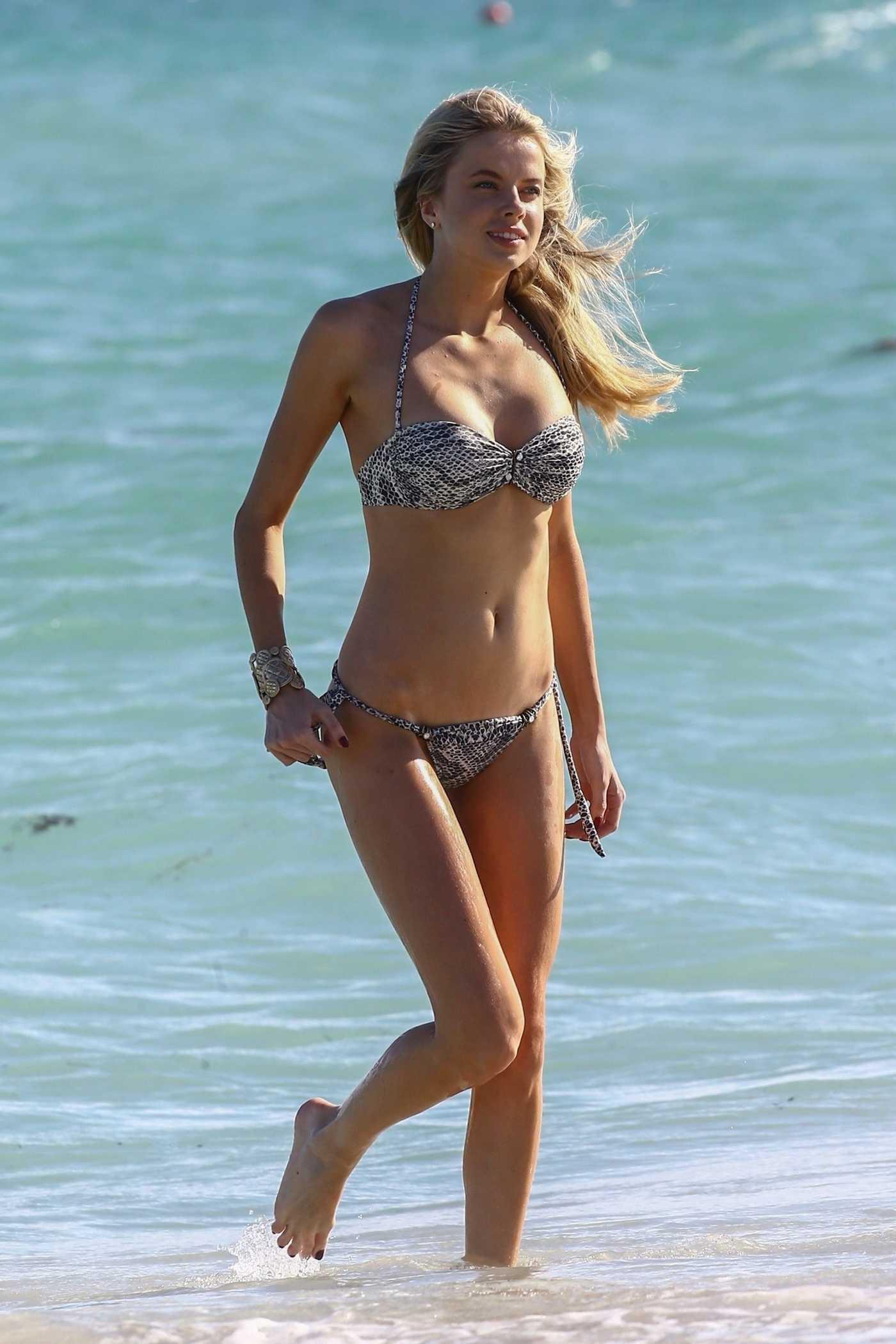 Louisa Warwick in Bikini at the Beach in Miami 11/26/2017