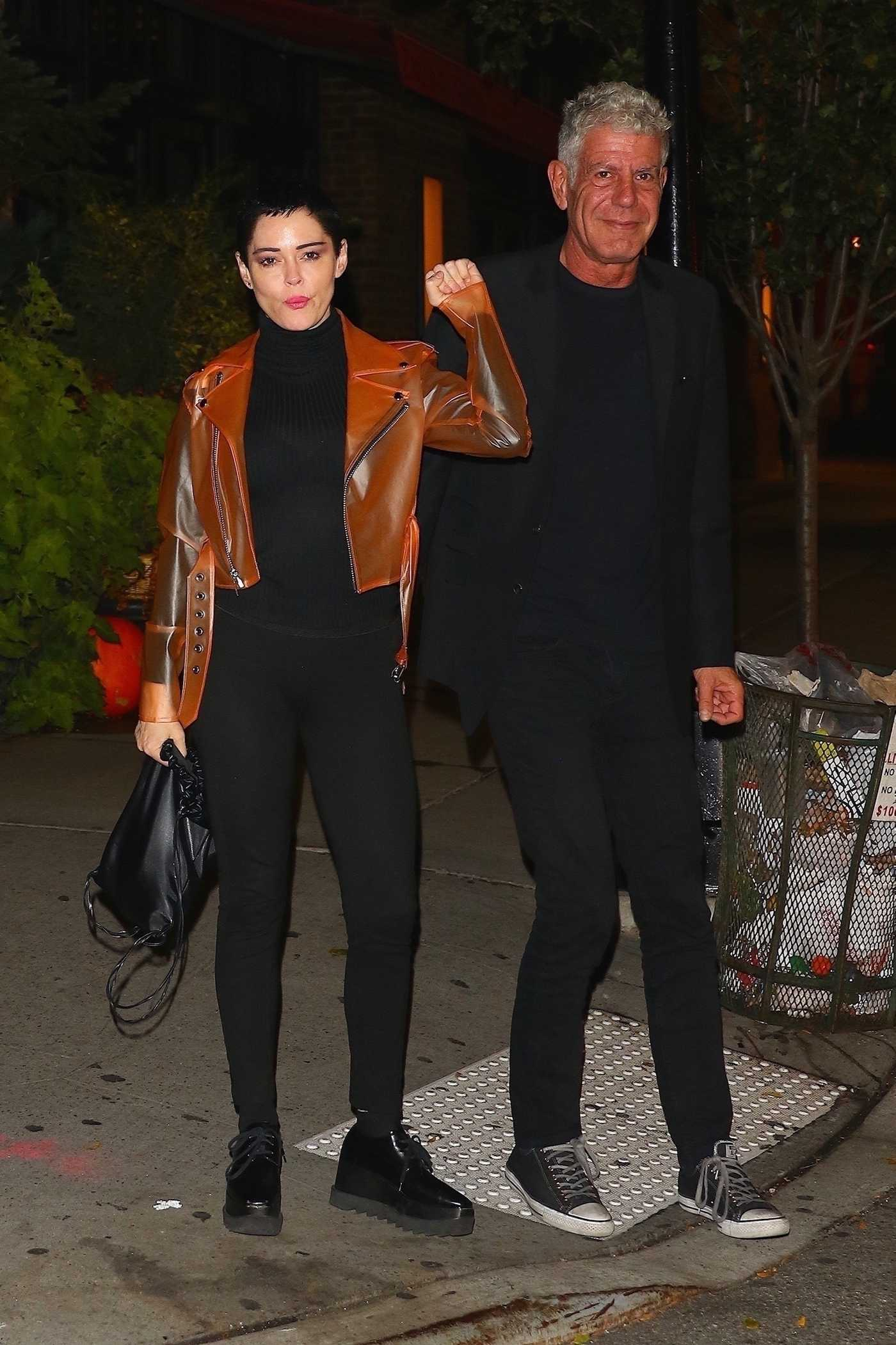 Rose McGowan Enjoys Dinner With Anthony Bourdain at Locanda Verde in New York City 11/02/2017