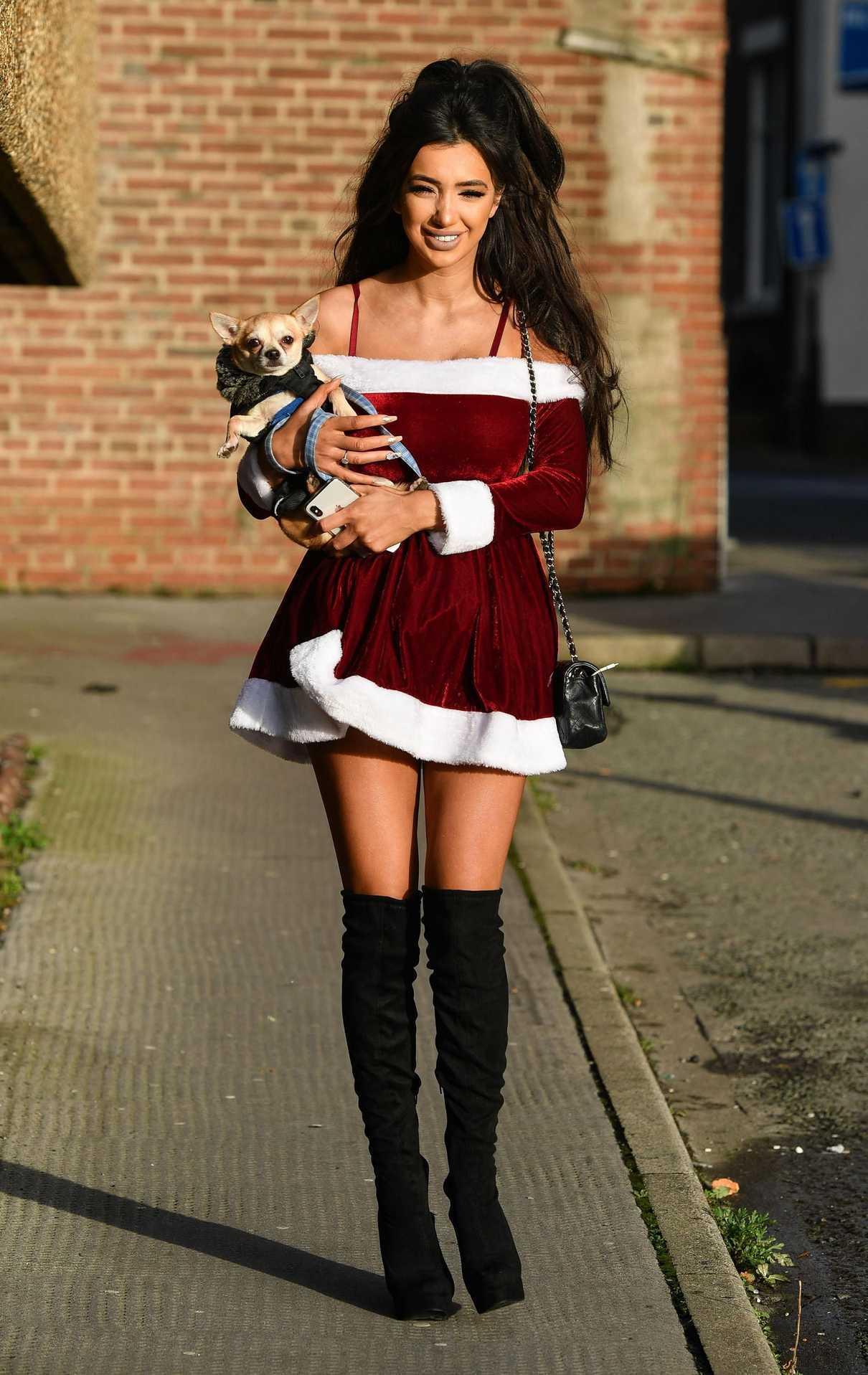 Chloe Khan Wears a Short Dress in Liverpool 12/18/2017