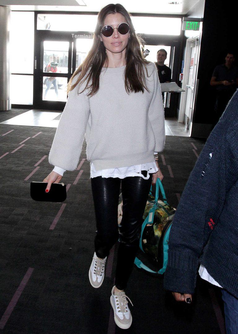 Jessica Biel Departs from LAX Airport in LA 01/15/2018-1