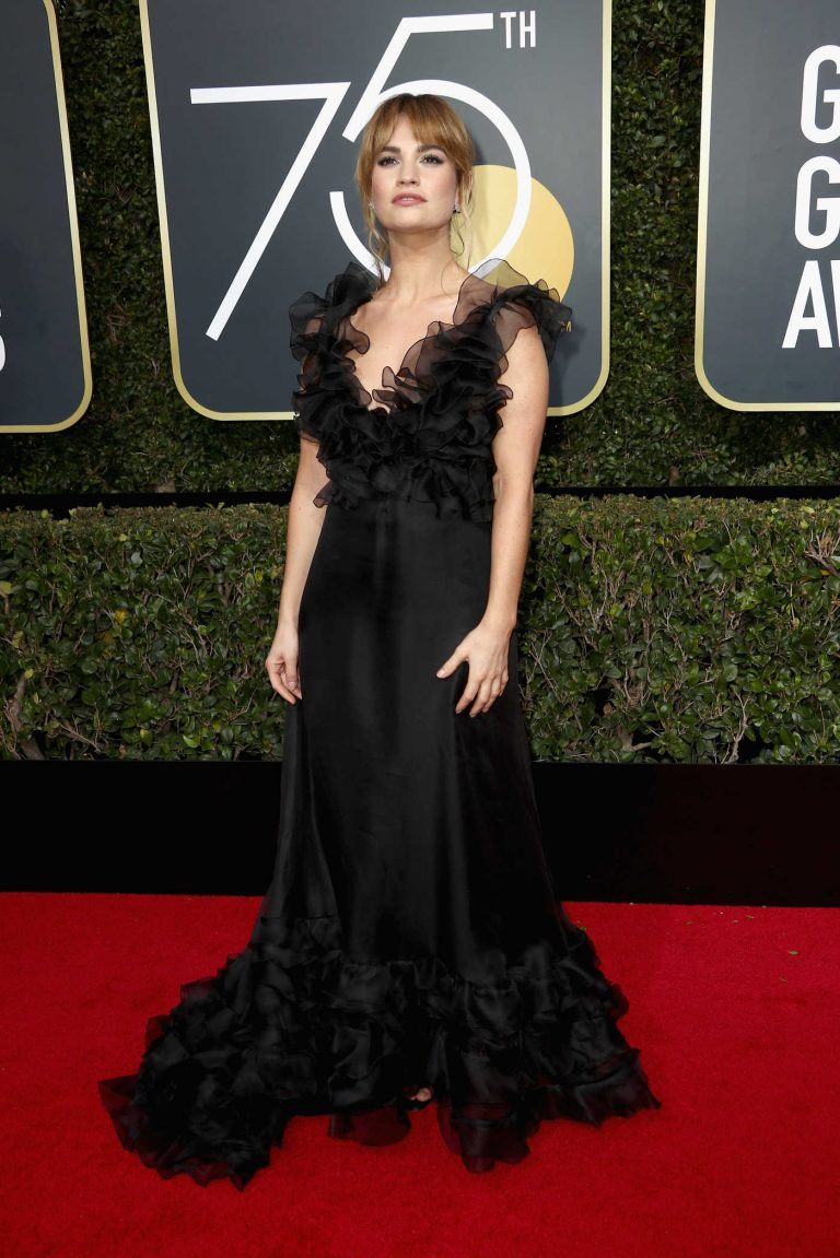 Lily James at the 75th Annual Golden Globe Awards in Beverly Hills 01/07/2018-1