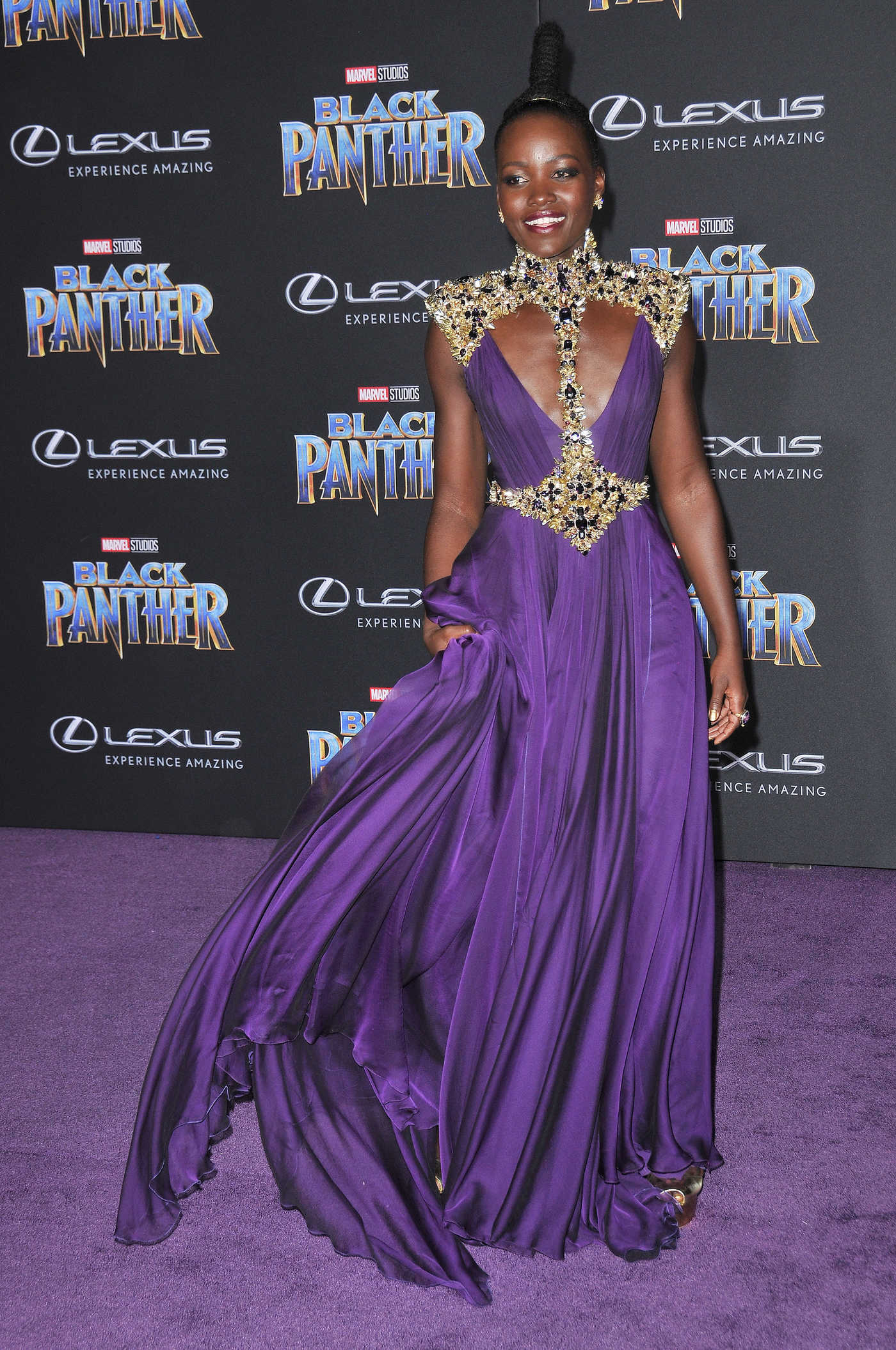 Lupita Nyong'o at the Black Panther Premiere in Hollywood 01/29/2018