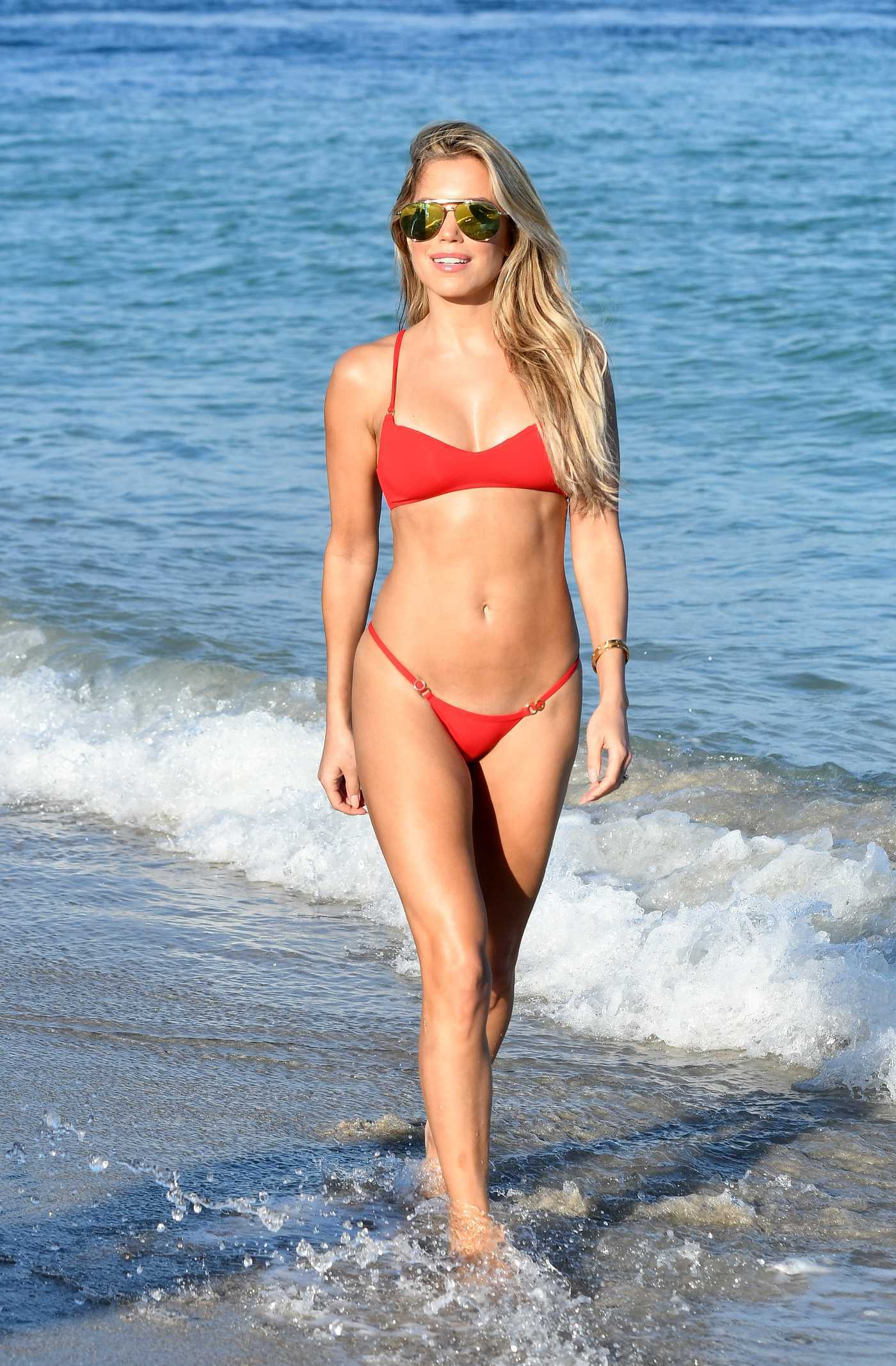 Sylvie Meis Wears a Red Bikini at the Beach in Miami 12/30/2017