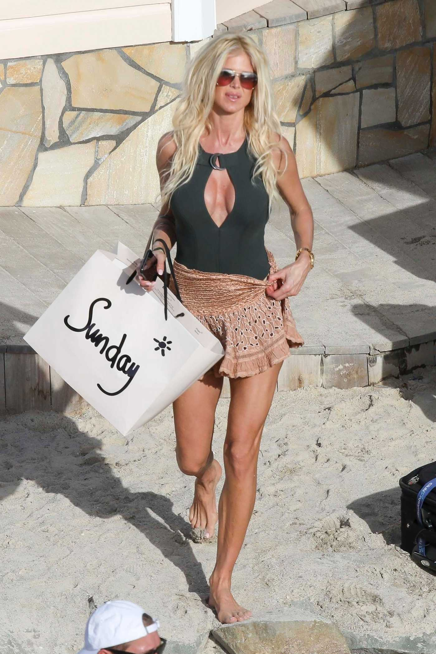 Victoria Silvstedt at the Beach in St Barts 12/30/2017