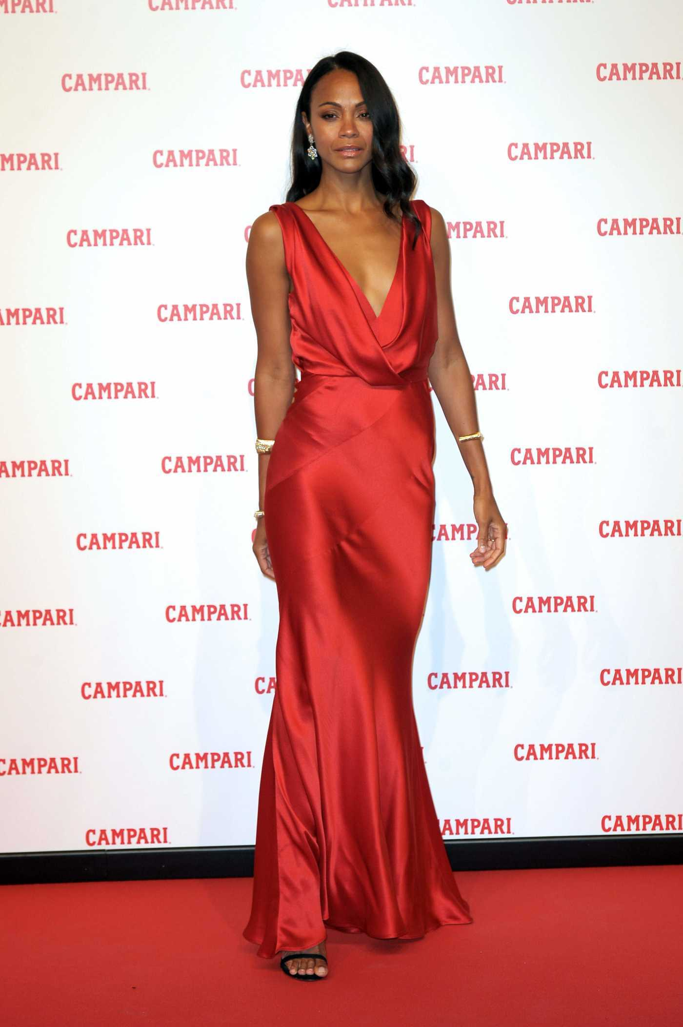 Zoe Saldana Attends Campari Red Diaries Photocall in Milan 01/30/2018