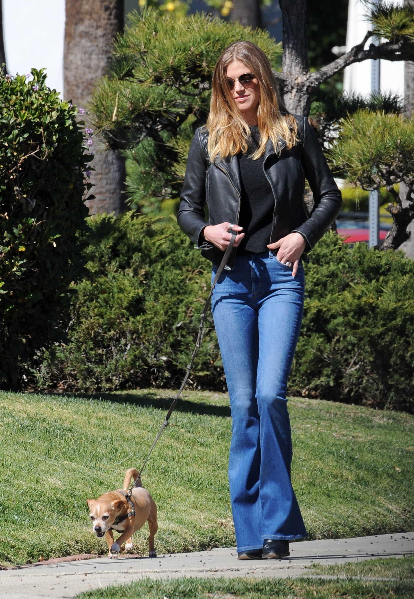Adrianne Palicki Walks Her Dog Olly Out in LA 02/23/2018