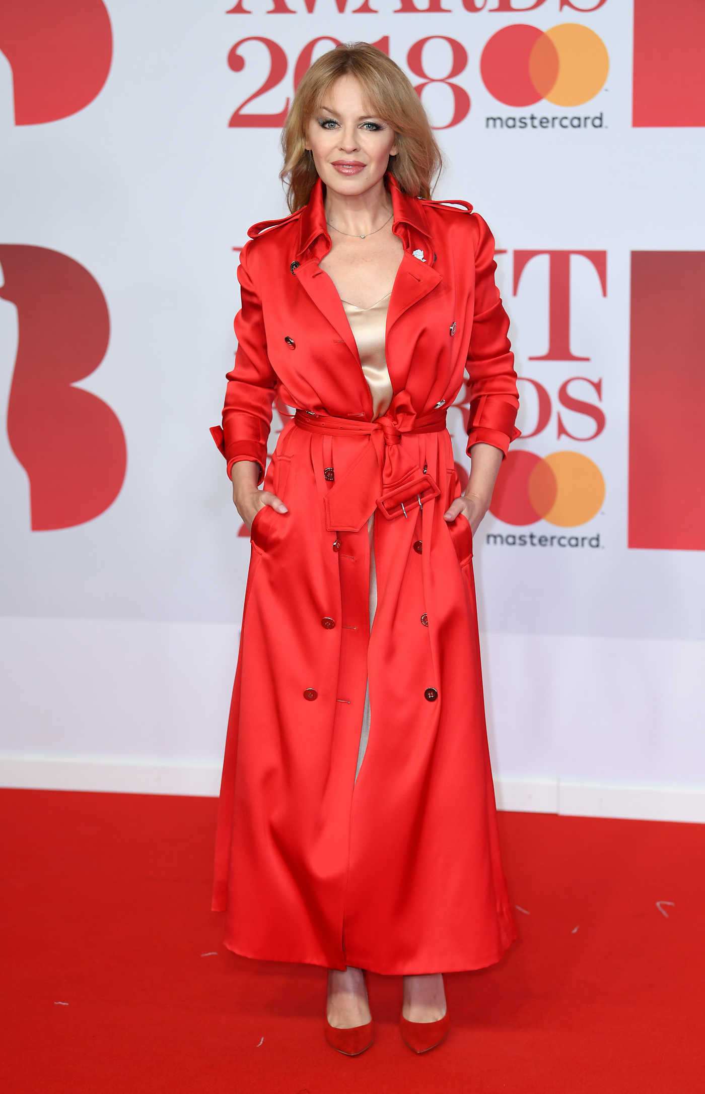 Kylie Minogue Attends the 2018 Brit Awards at the O2 Arena in London 02/21/2018