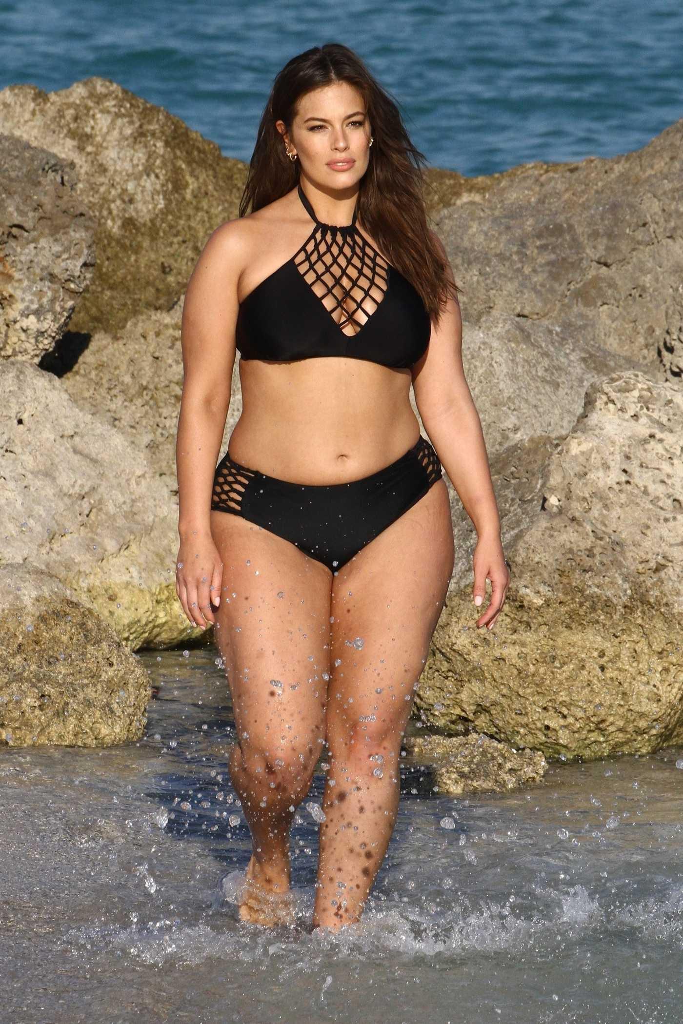 Ashley Graham Does a Bikini Photoshoot on the Beach in Miami 03/14/2018