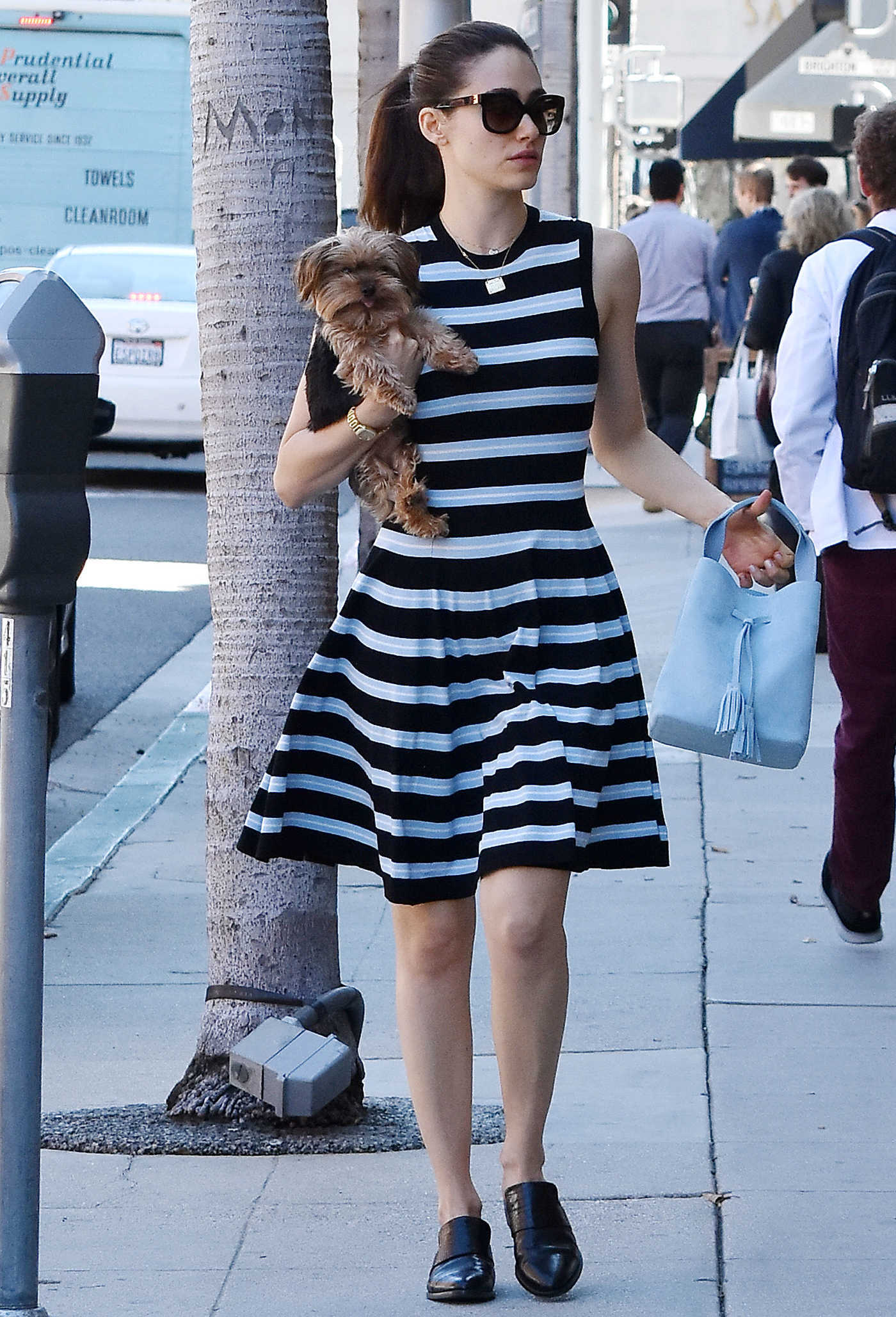 Emmy Rossum Wears a Striped Dress Out in Beverly Hills 03/15/2018