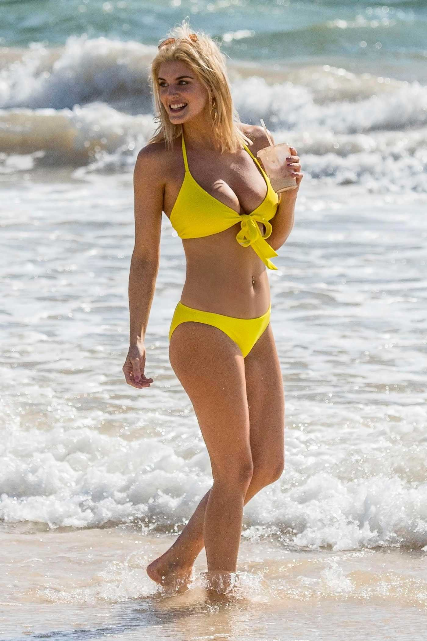 Ashley James Wears a Yellow Bikini on the Beach in Tulum 03/30/2018