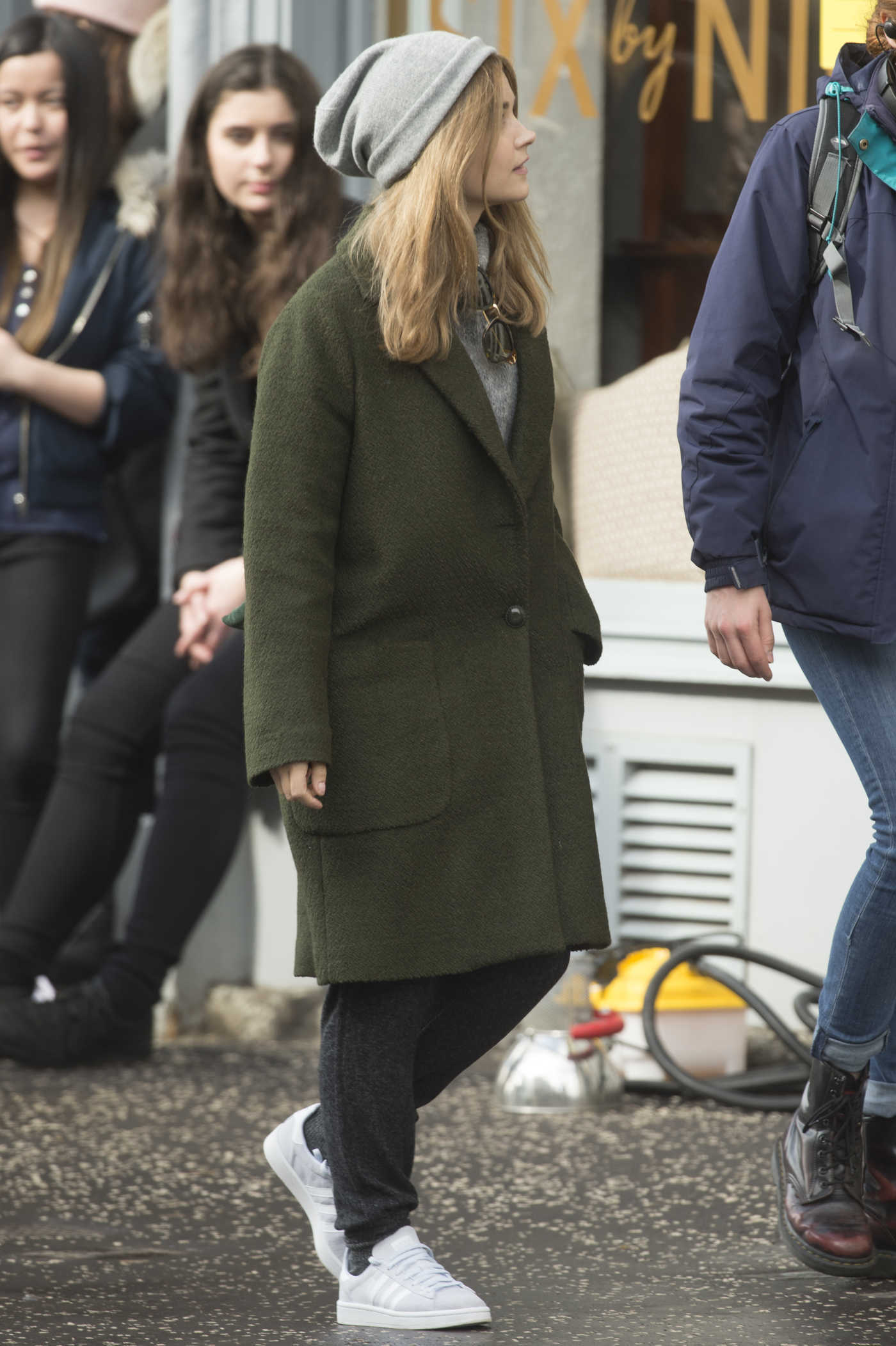 Jenna Coleman on the Set of Her New Drama The Cry in Glasgow 04/09/2018
