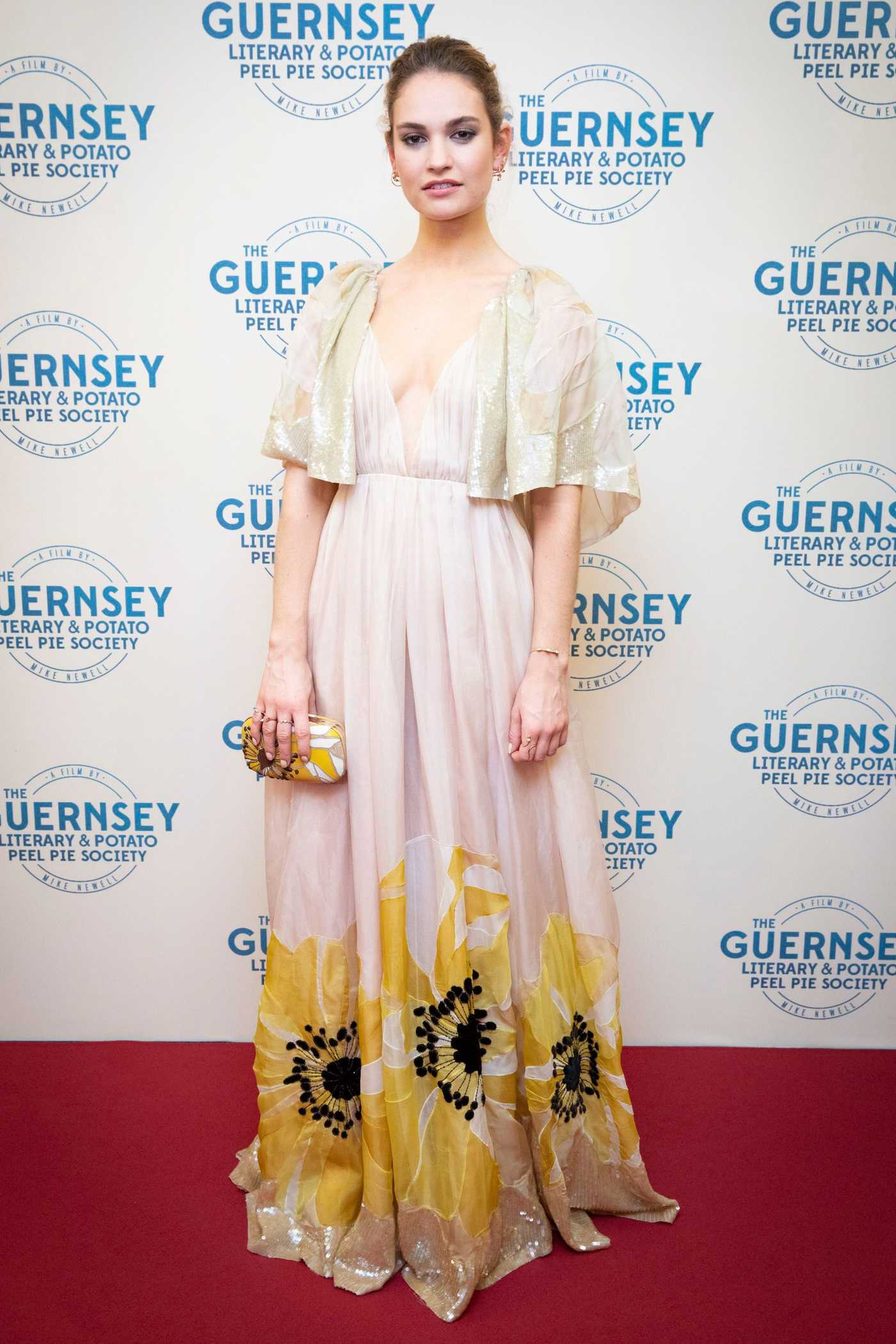 Lily James at The Guernsey Literary and Potato Peel Pie Society Premiere in Guernsey 04/12/2018