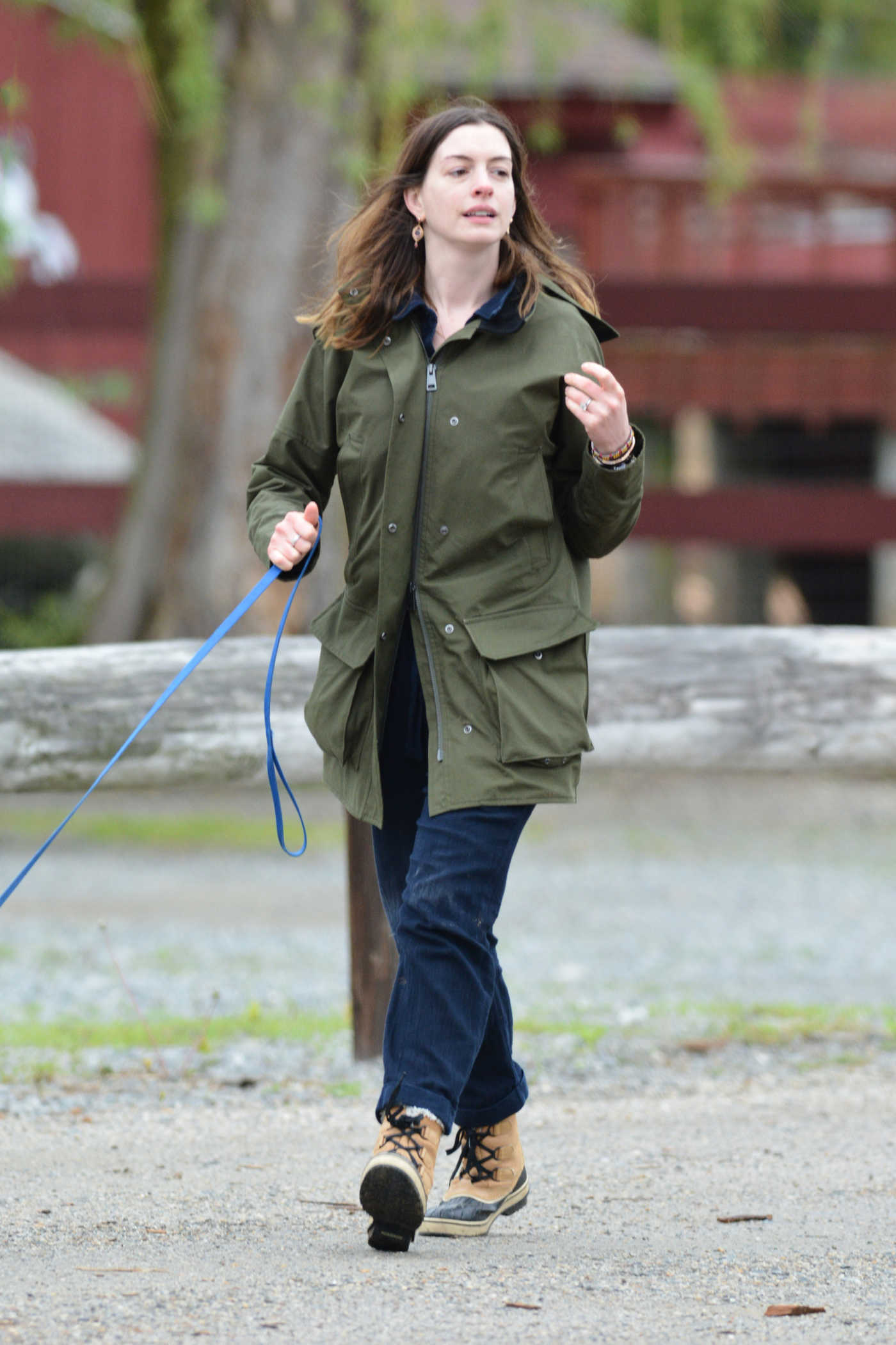 Anne Hathaway Walks Her Dog in Easton 05/13/2018