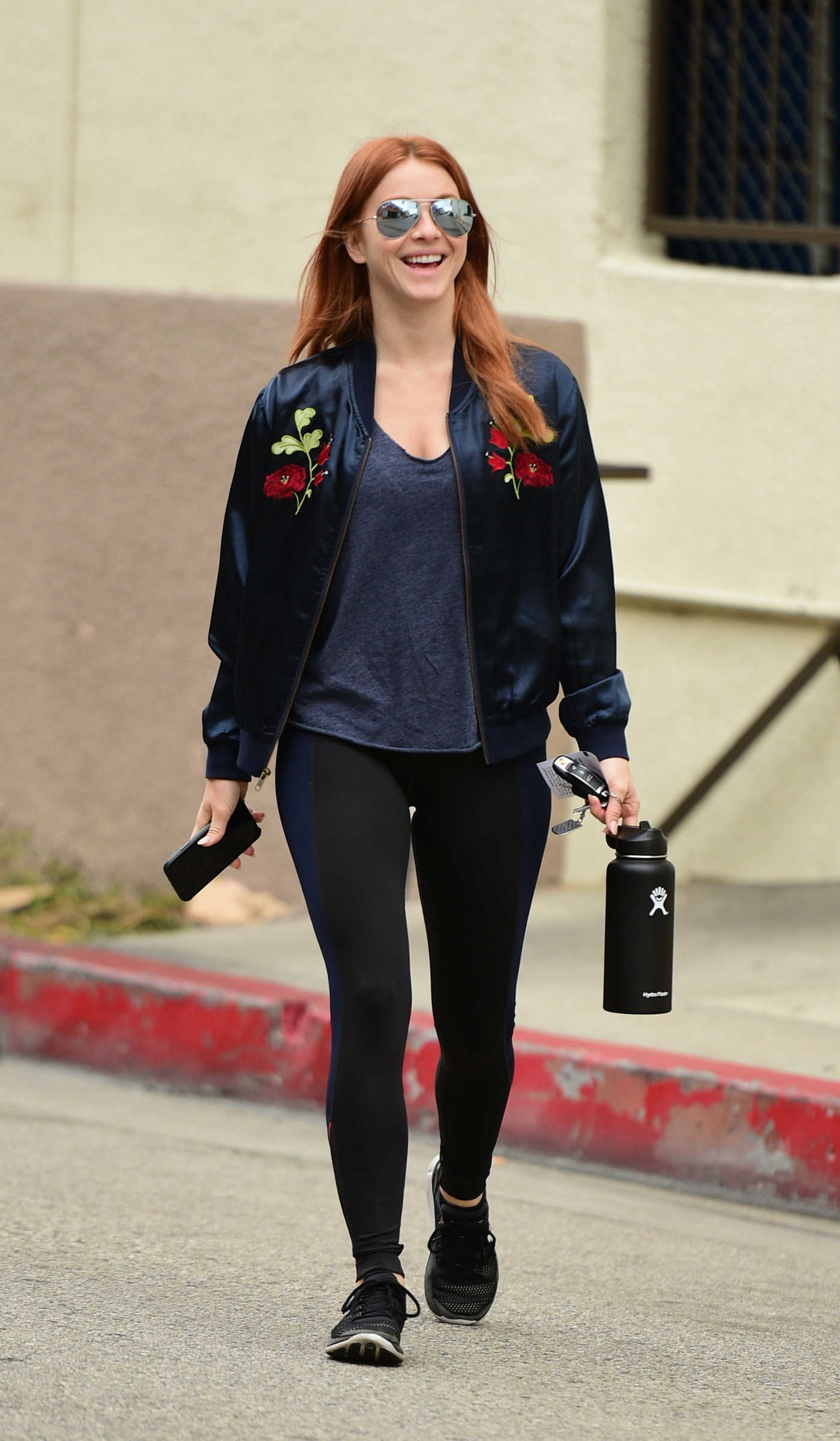 Julianne Hough Wears an Embroidered Blue Satin Jacket Out in LA 04/30/2018