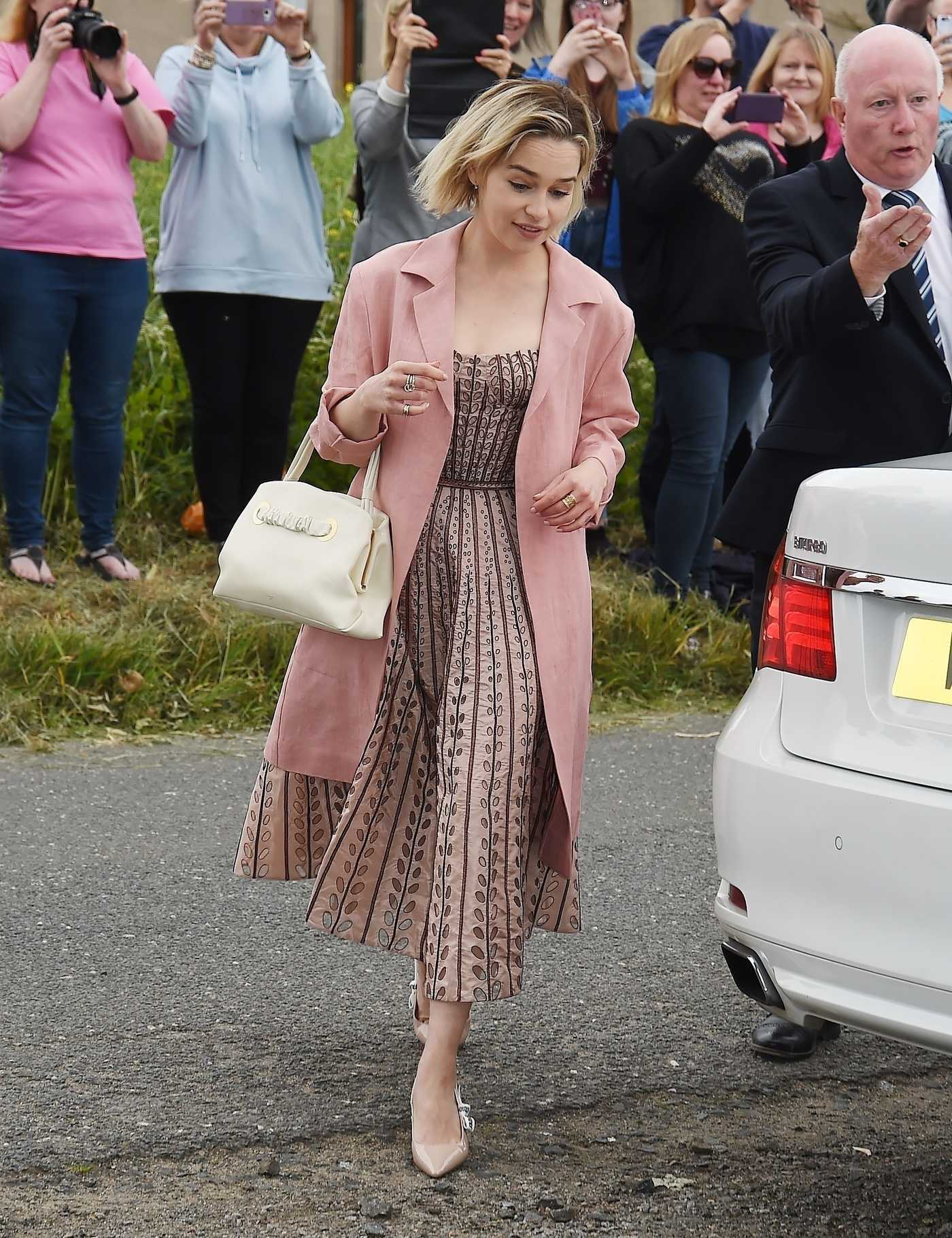 Emilia Clarke Arrives at Kit Harington and Rose Leslie Wedding in Scotland 06/23/2018
