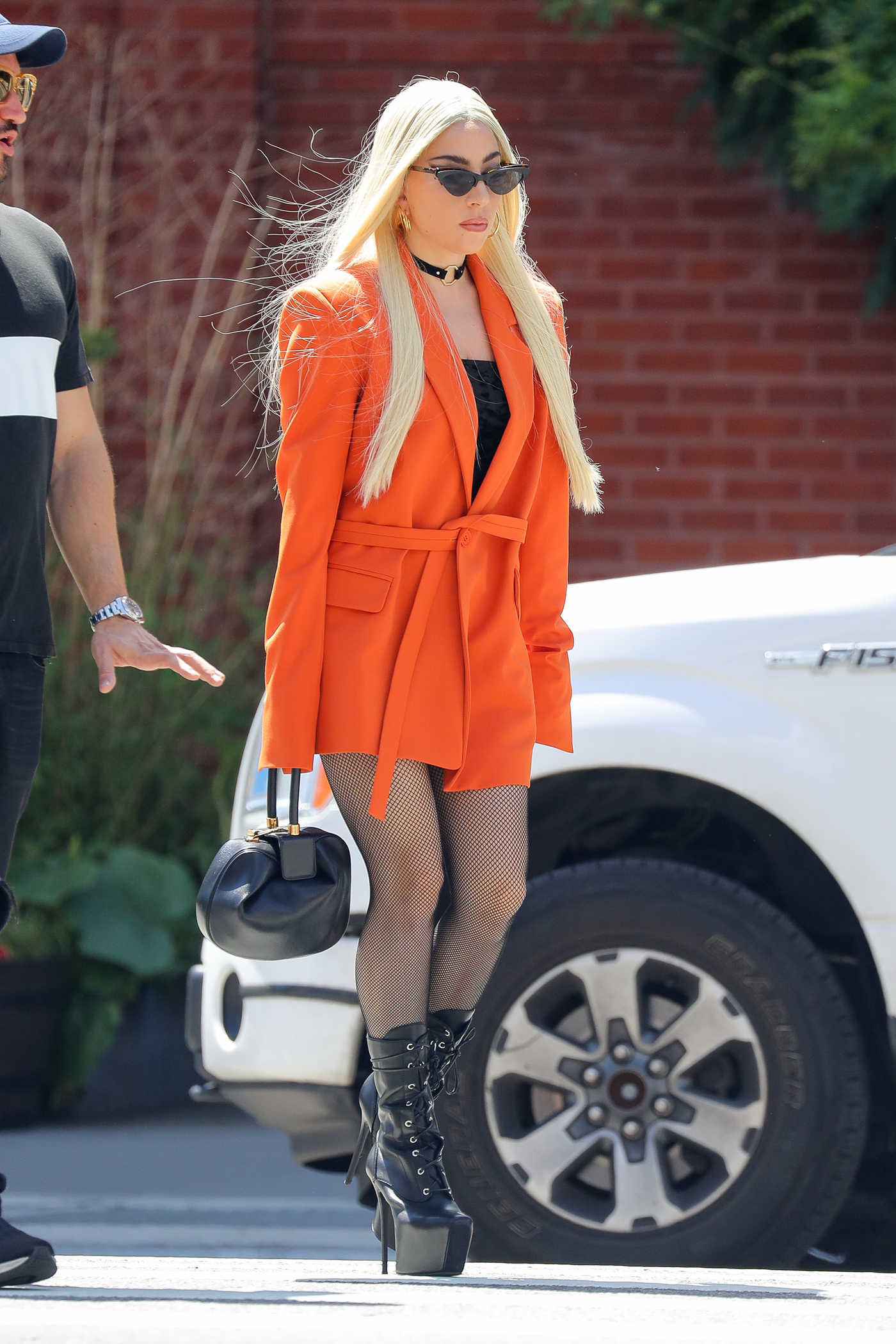 Lady Gaga Wears a Bright Orange Blazer Out in New York City 06/25/2018